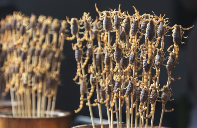 Fried scorpions as snack at street-food market | © Alexander Weickart/Shutterstock