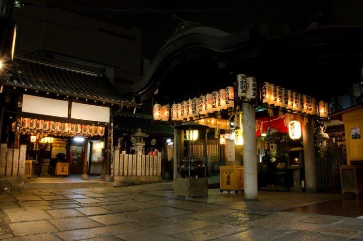 Hozenji Yokocho buddhist temple in the minami district of Osaka, Japan