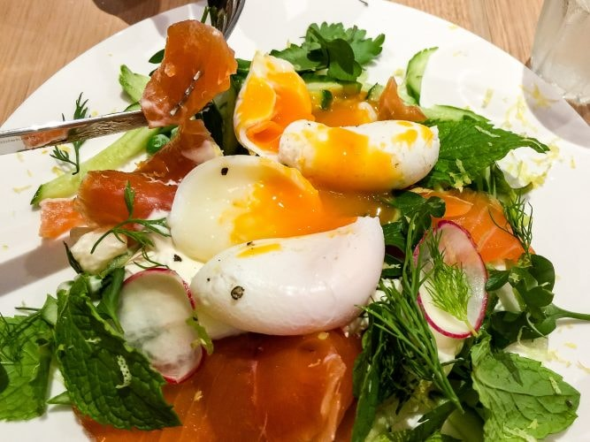 Salmon and poached eggs