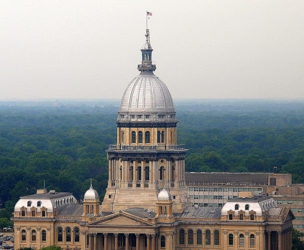 aerial shot, Illinois State Capitol Building