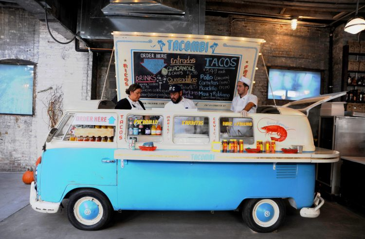 Converted VW Volkswagon camper van turned into a Mexican fast food stall in the Gansevoort Market New York