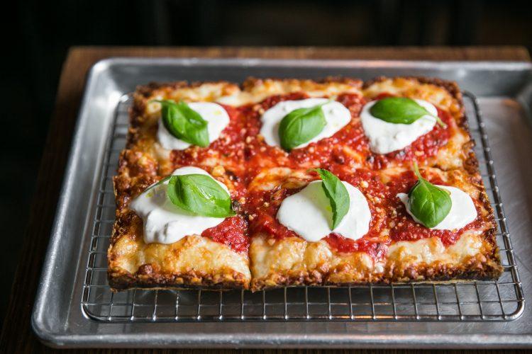 Margarita Pizza at Emmy Squared in Williamsburg, Brooklyn, New York.