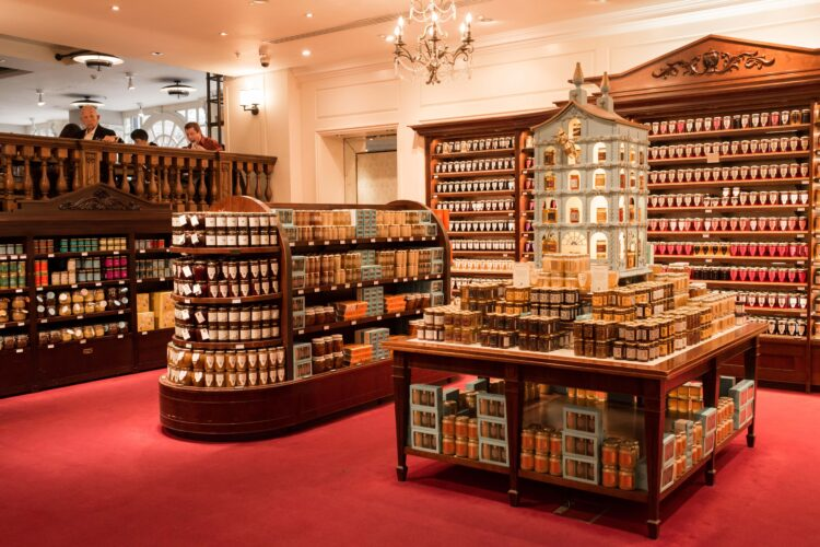 Interiors of Fortnum & Mason. Fortnum & Mason is an upmarket department store renowned for teas and wine in Piccadilly, London. It is one of London's