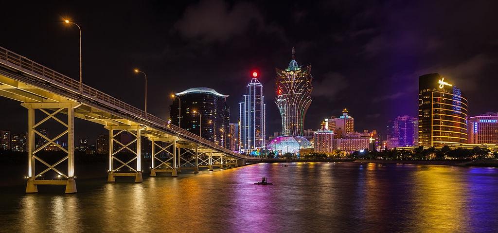 Macau's casino strip at night