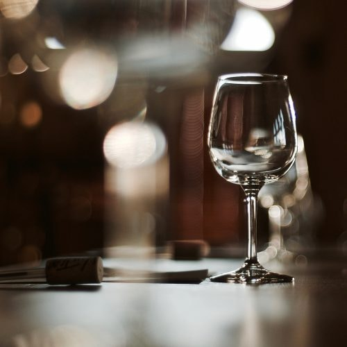 Empty glass at a wine bar