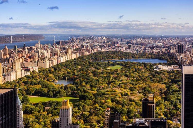 Aerial view over New York Central park and its surroundings.