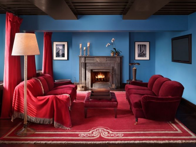 The Gramercy Park Hotel's rooms are decked out in mahogany, leather and velvet furnishings