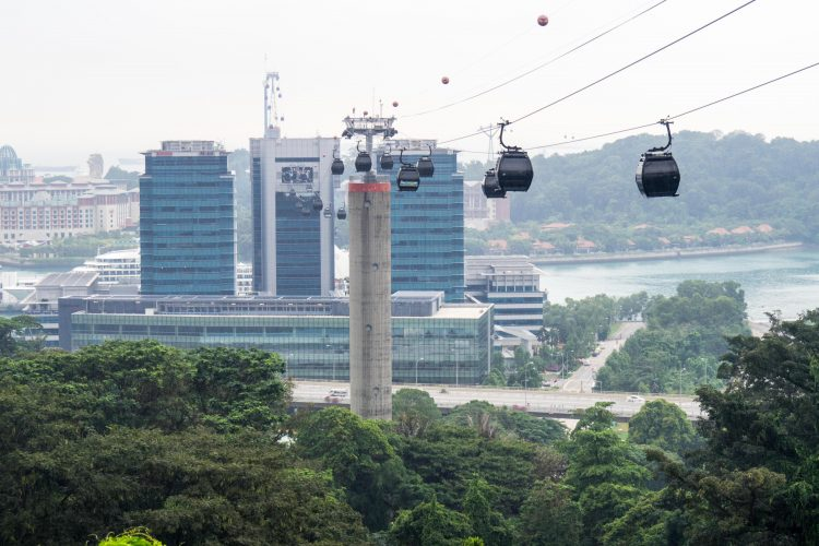 Singapore cable cars connecting Mount Faber to Harbour Front and Sentosa Island.