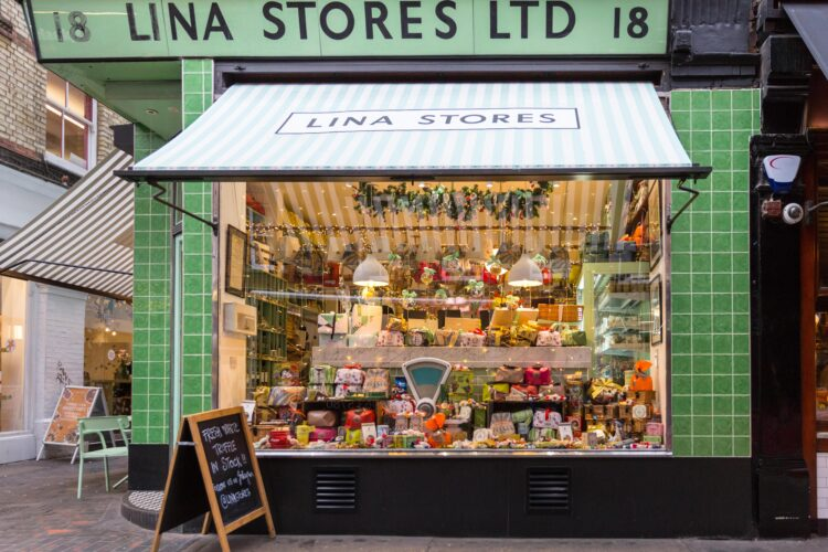 Lina Stores Ltd, old fashioned traditional deli shop and store with Italian delicatessen and food in Brewer Street, Soho, London