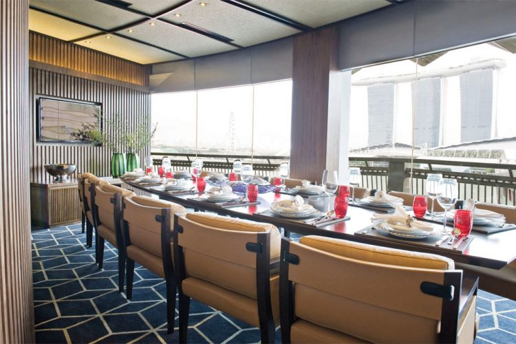 Tong Le Private Dining looks out to the Marina Bay Sands