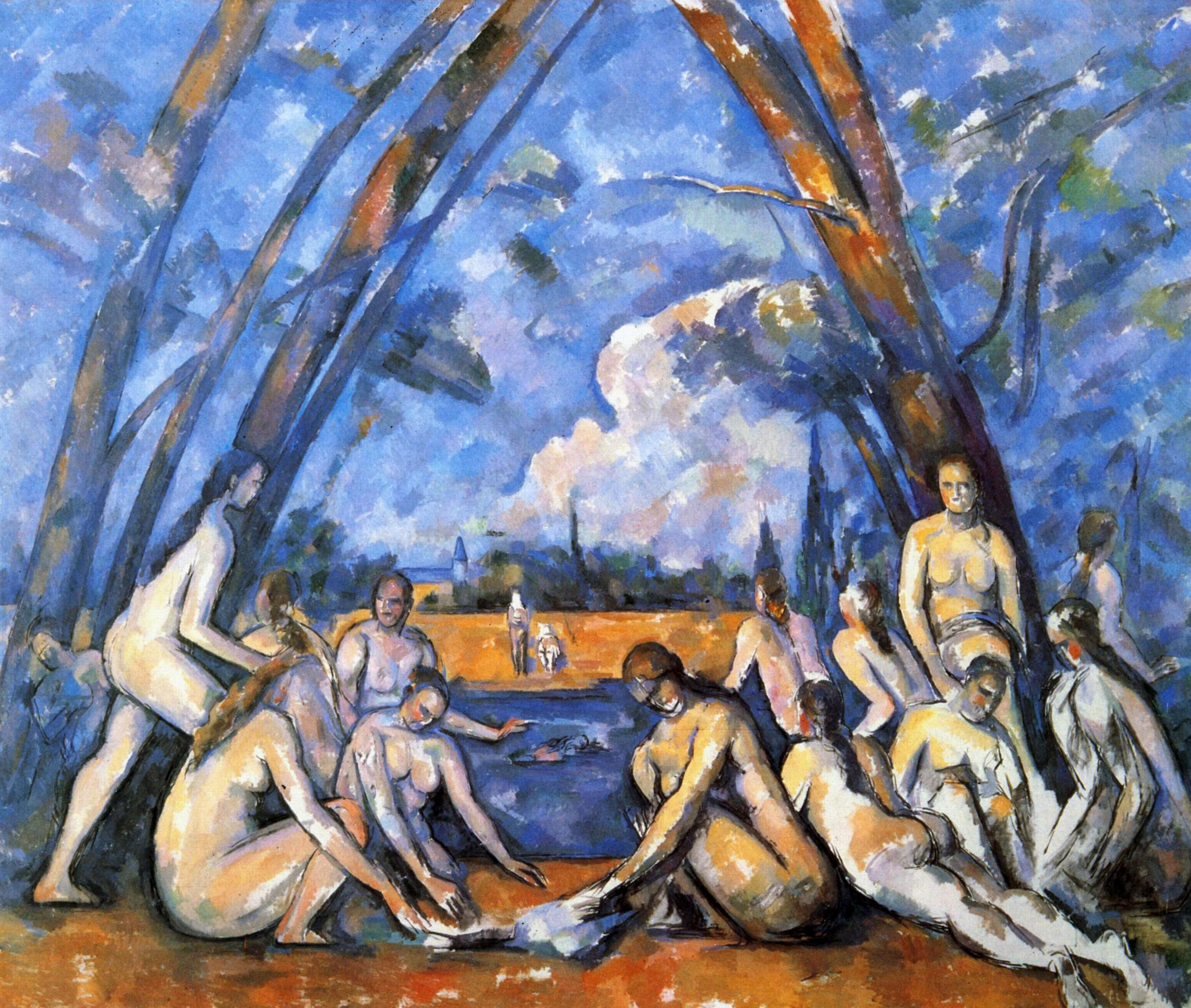 Les Grandes Baigneuses' (The Bathers), first exhibited in 1906. Largest of 'Bathers' series.