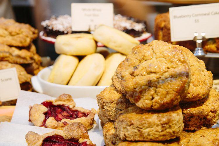 A display full of freshly baked goods at Huckleberry Cafe. Santa Monica, California.. Image shot 2015. Exact date unknown.