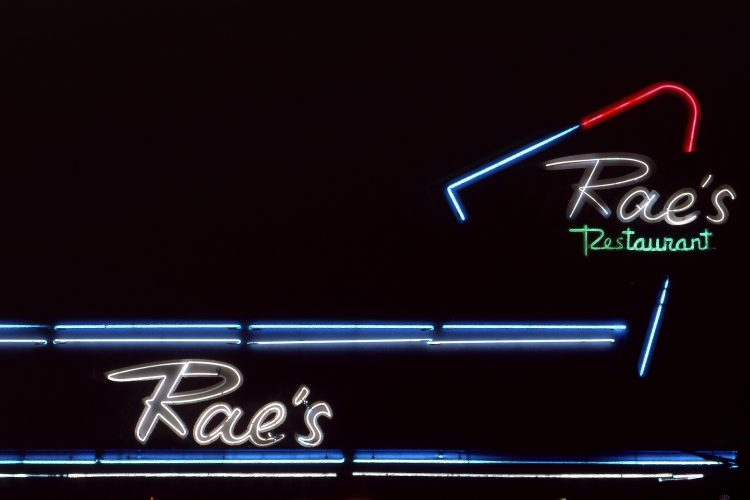 Vintage neon sign for Rae's Restaurant in Santa Monica, CA. Image shot 1989. Exact date unknown.