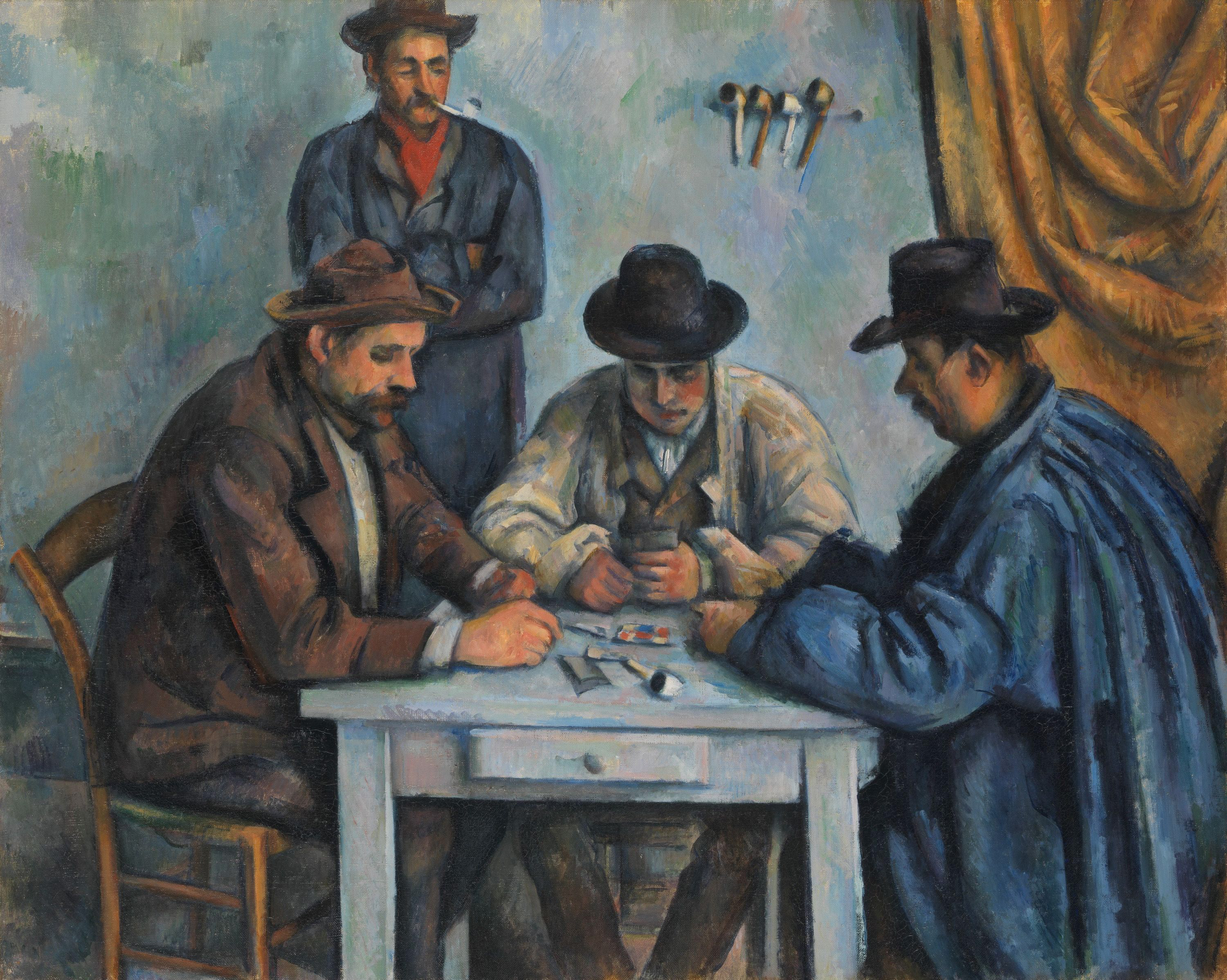 The Card Players, by Paul Cezanne, 1890-92, believed to be the first of five paintings Cezanne made of peasants playing cards.