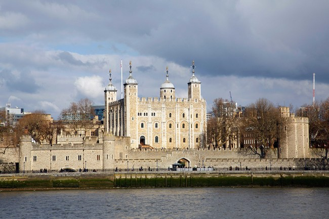 Tower of London and Traitors Gate on the banks of the Thames River. The gate was built by Edward I to provide a water gate entrance to the Tower.