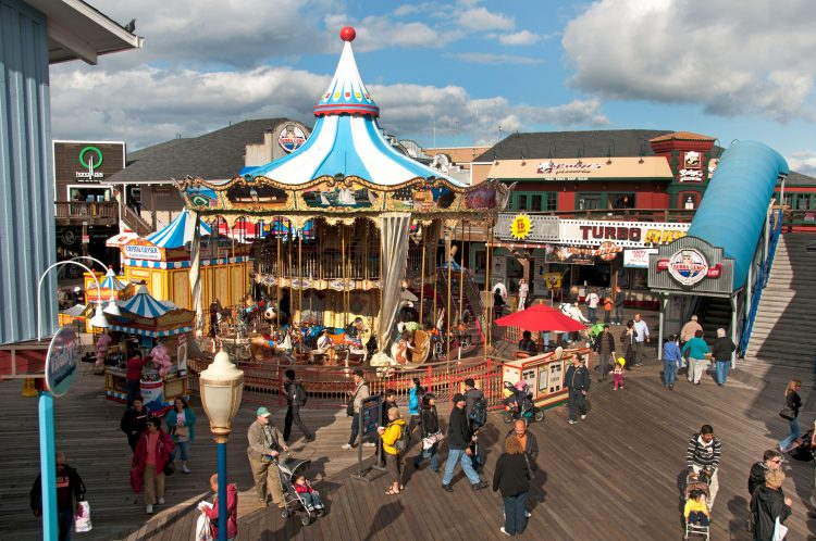 Pier 39 shopping center popular tourist attraction San Francisco California.USA American United States of America
