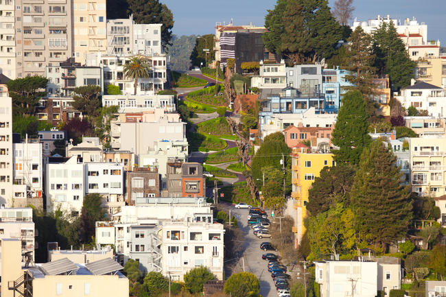 Lombard Street on Russian Hill, San Francisco, California, USA
