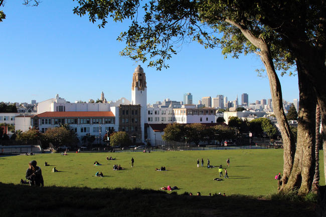 Mission Dolores Park in late afternoon, San Francisco