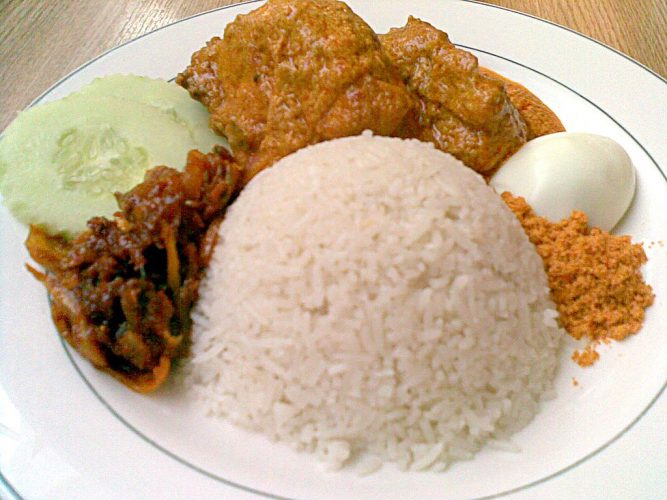 Nasi lemak served in Madam Kwan's