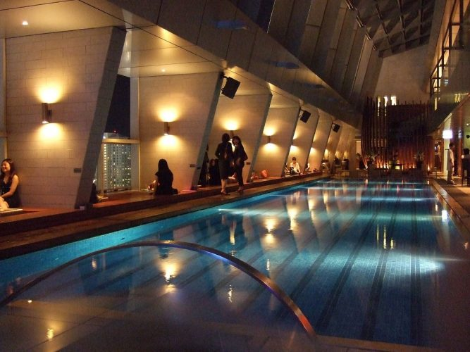 The long swimming pool inside Skybar KL