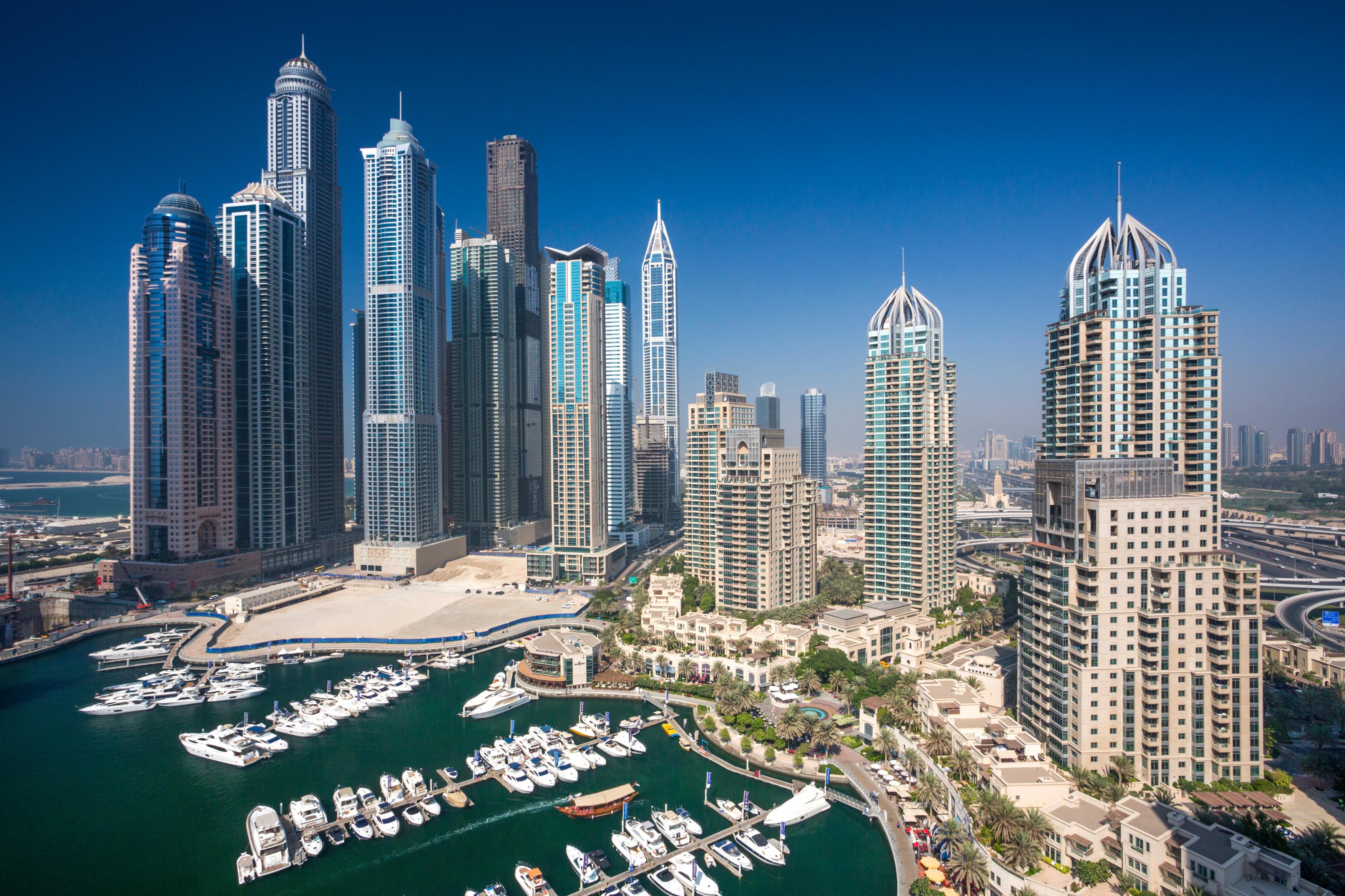 United Arab Emirates, UAE, Dubai, City, Dubai Marina, Dubai, architecture, boat, boats, buildings, construction, futuristic, har