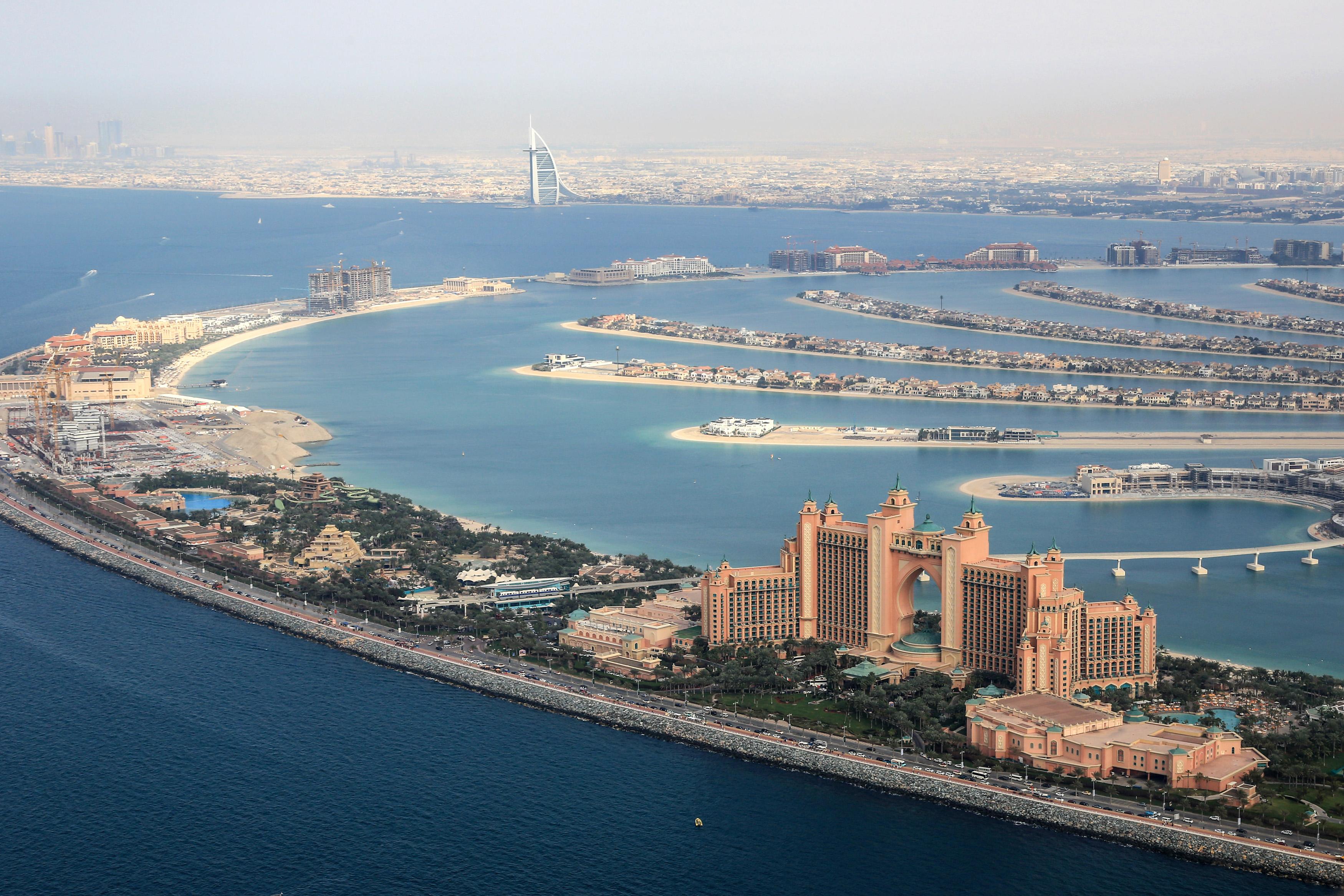 Dubai The Palm Island Atlantis Hotel Burj Al Arab aerial view photography UAE