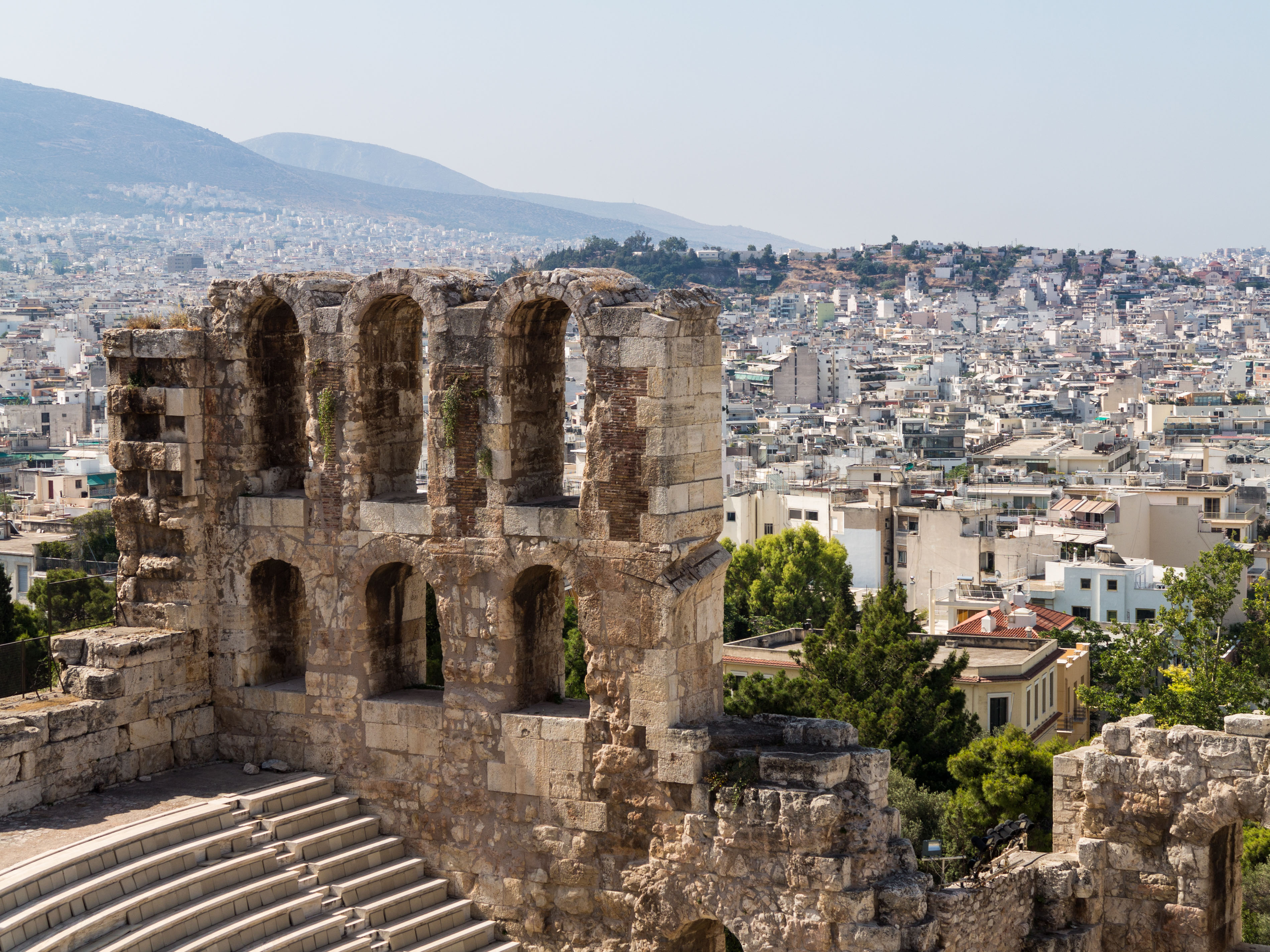 The Odeon of Herodes Atticus amphitheatre from the Acropolis, Athens - with the old ancient Greece city behind