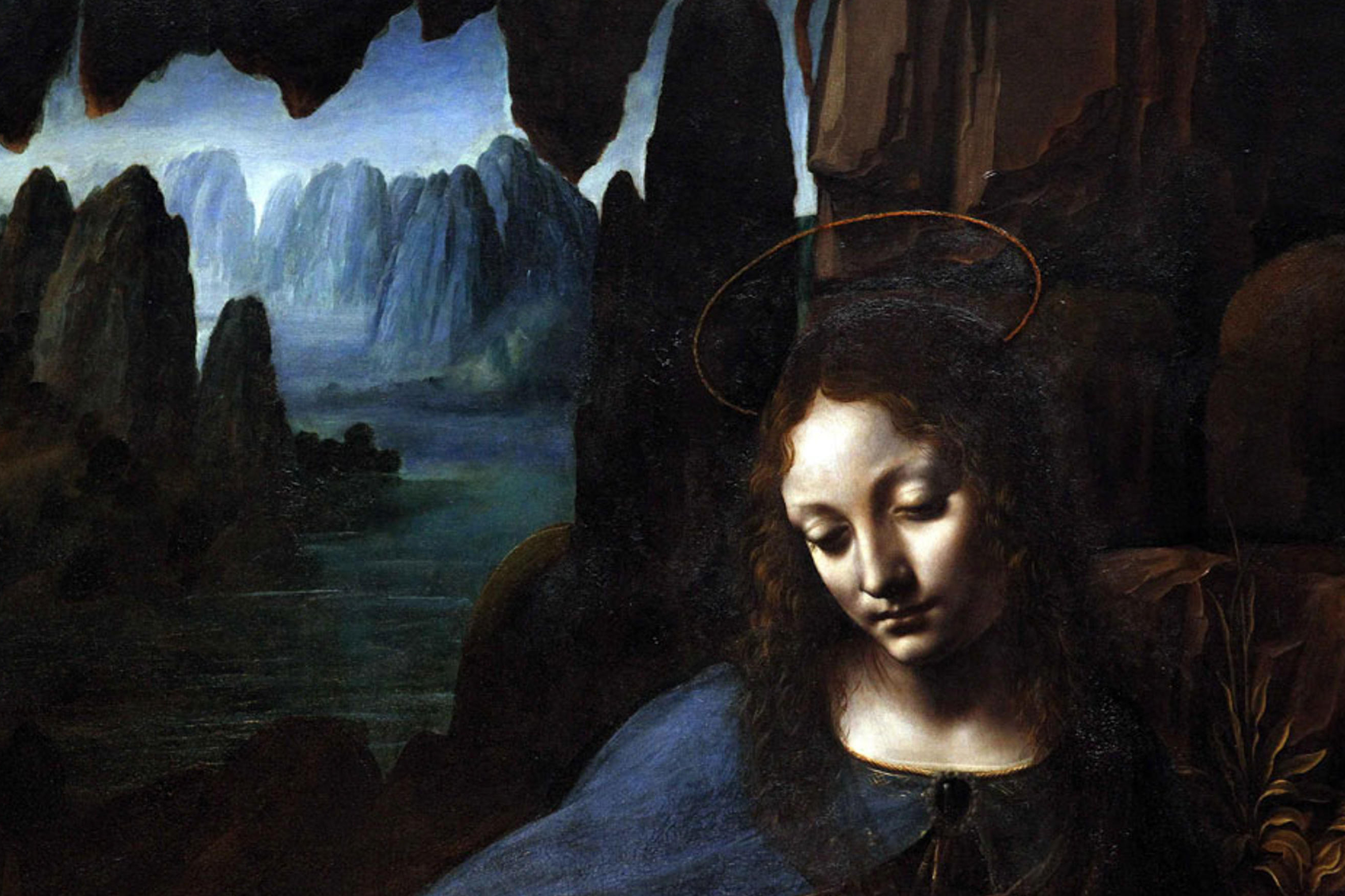 . English: detail of The Virgin of the Rocks by Leonardo da Vinci), at the National Gallery in London after 2010 conservation Virgin of the Rocks. between 1491 and 1508. 'The Virgin on the Rocks' by Leonardo da Vinci (1491-1508), at the National Gallery