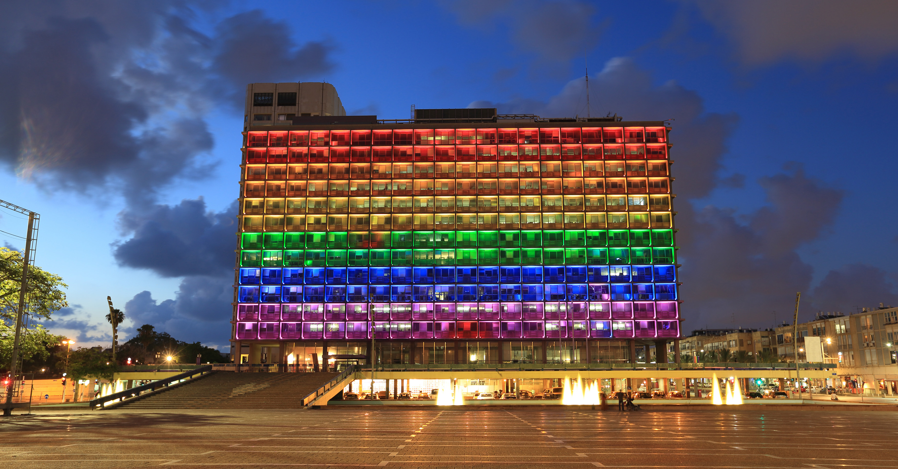 Tel Aviv City Hall is decked out in rainbow stripes during Pride