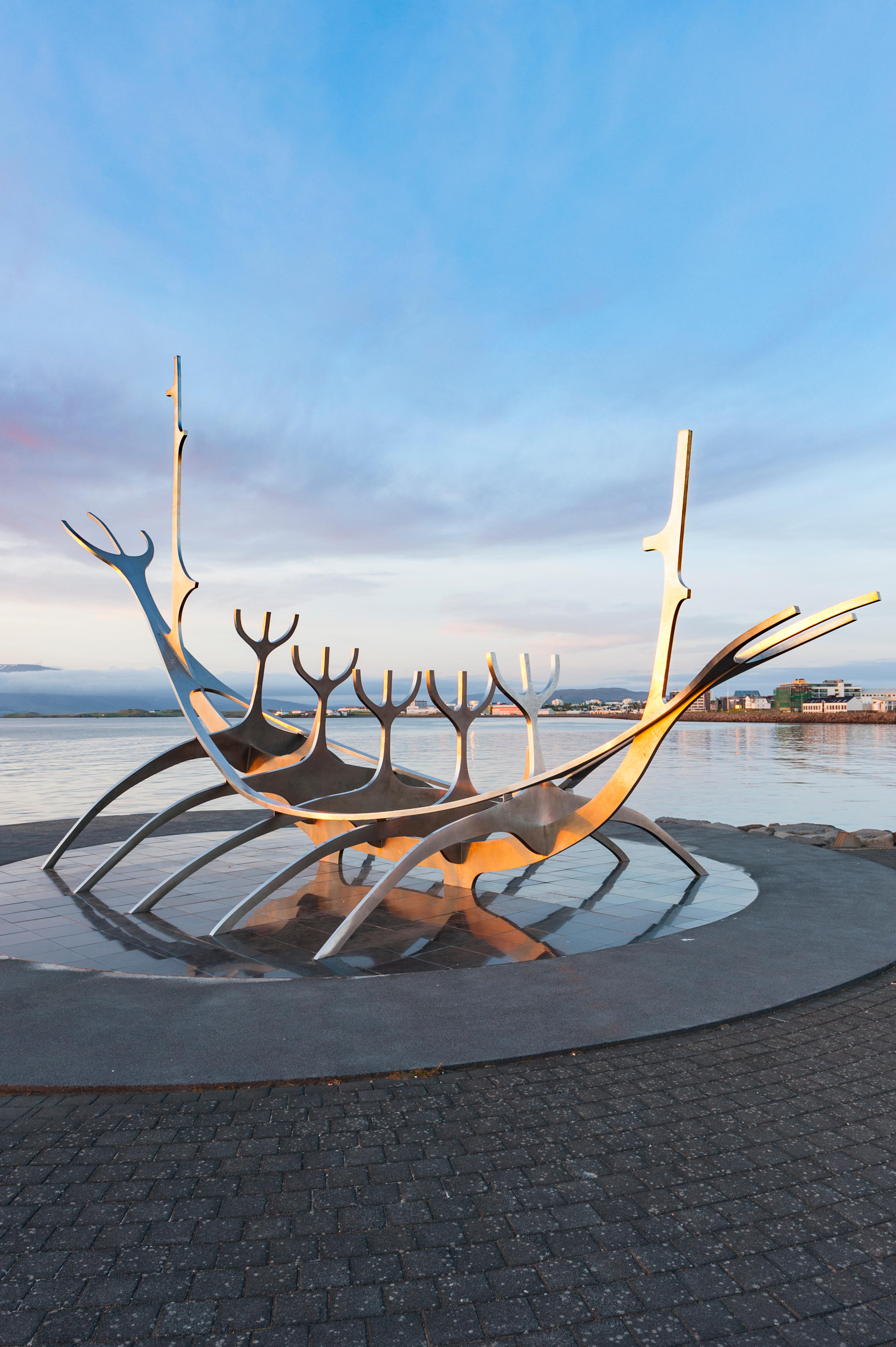 Sun Voyager (Solfar), a Viking ship metal sculpture by artist Jon Gunnar Arnason, at the shore of Reykjavik, Iceland, built as an ode to the sun.