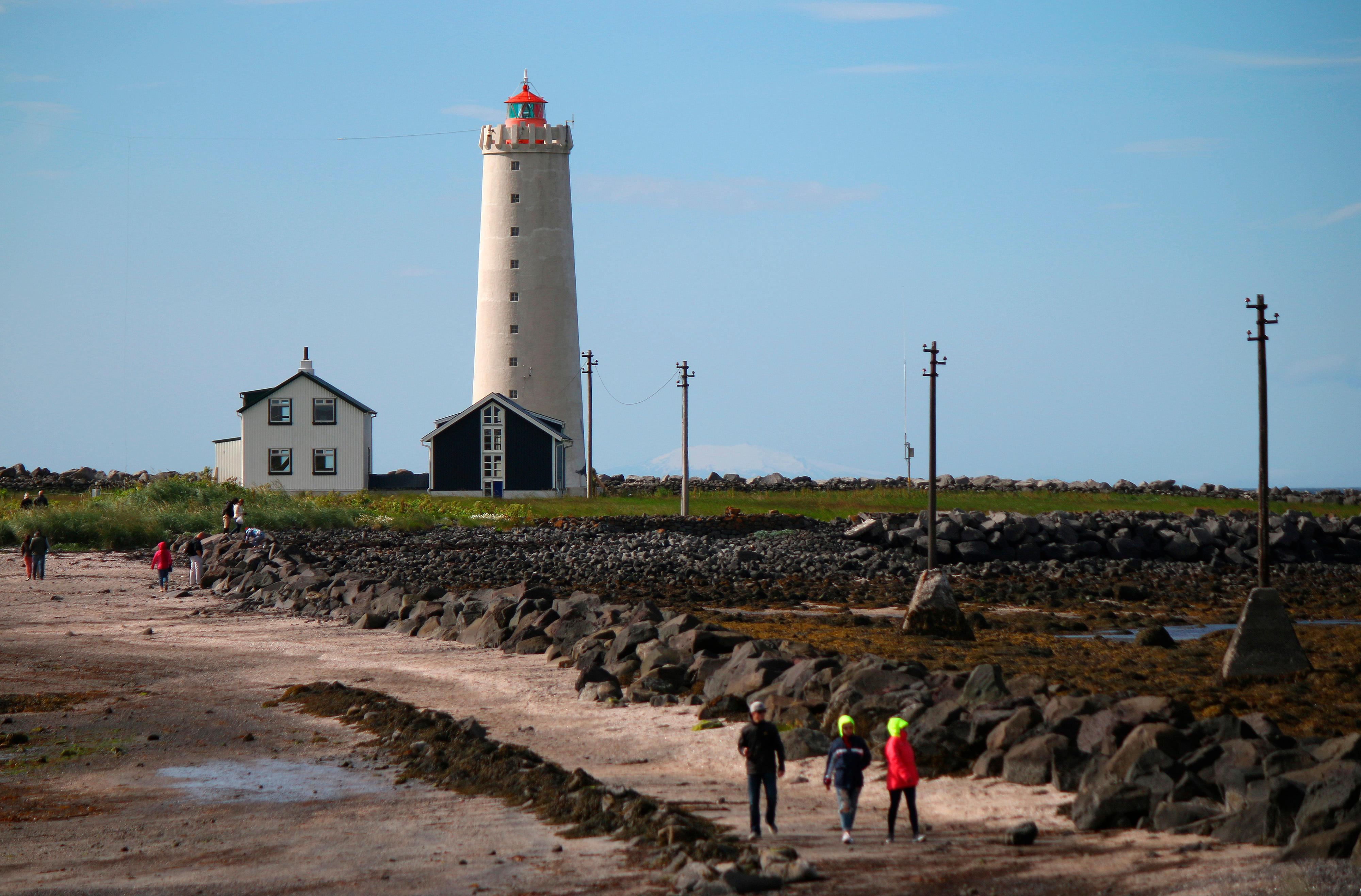 Grotta Island Lighthouse Leuchtturm, Seltjarnarnes, Reykjavik, Island.