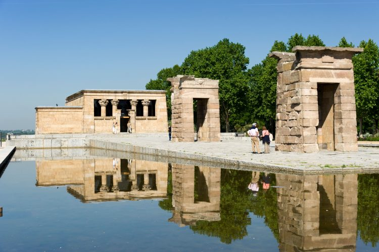 The Temple of Debod in the Parque del Oeste, Madrid, Spain.