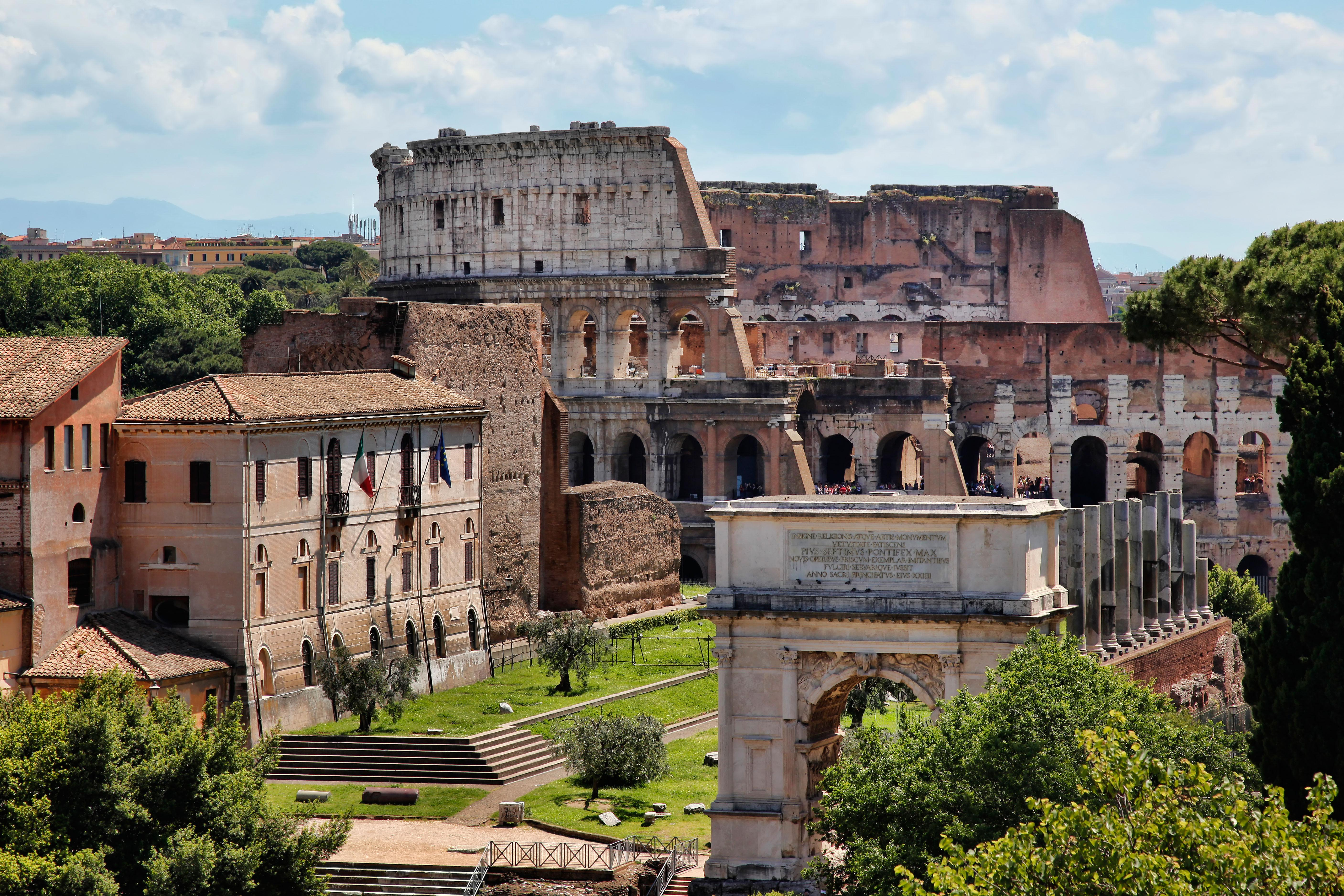 View of the colosseum in Rome from the Palatine Hill in the Forum