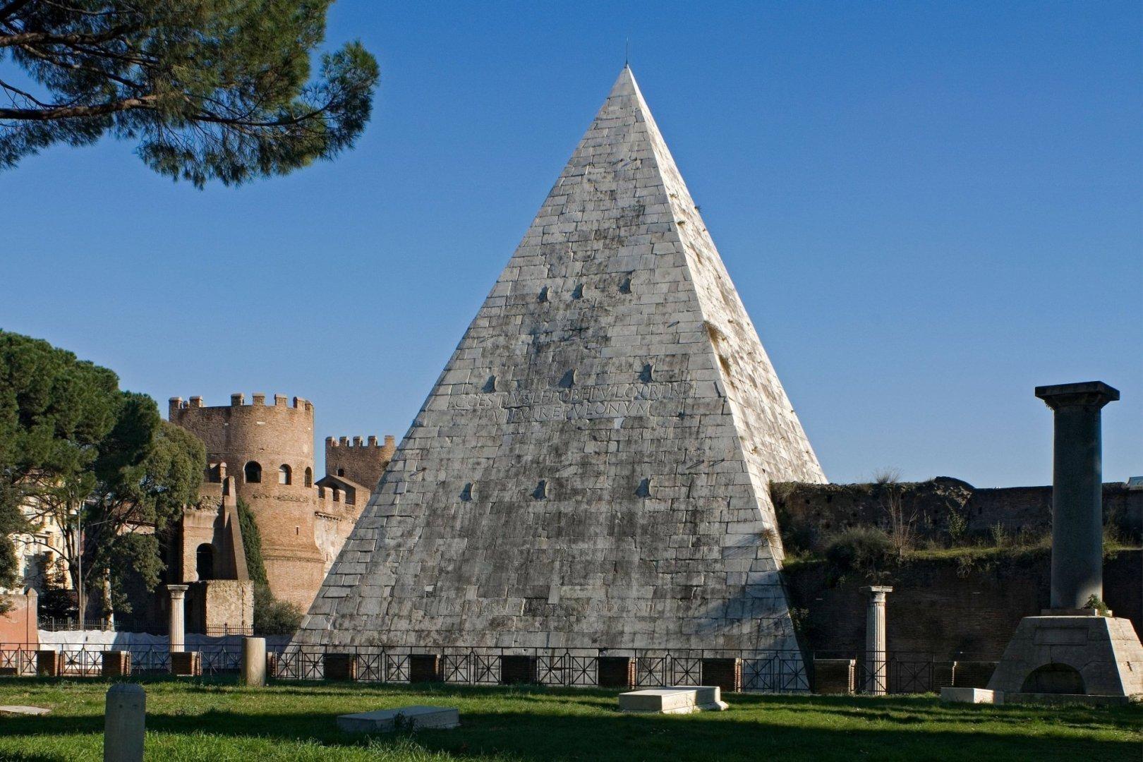 Caius Cestius's Pyramid seen from Non-Catholic Cemetery, Rome, Latium, Italy