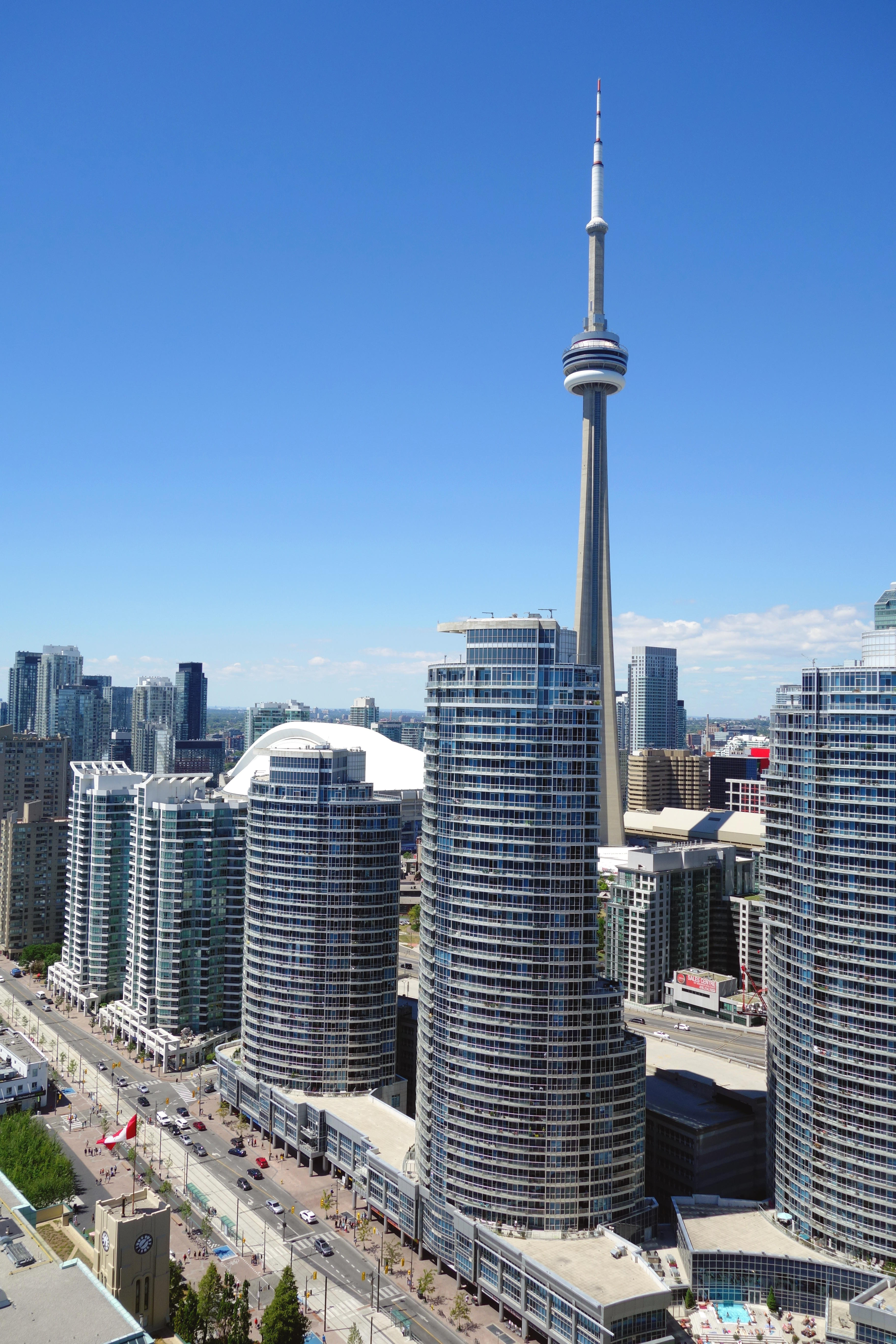 Downtown buildings and CN Tower in Toronto, Canada
