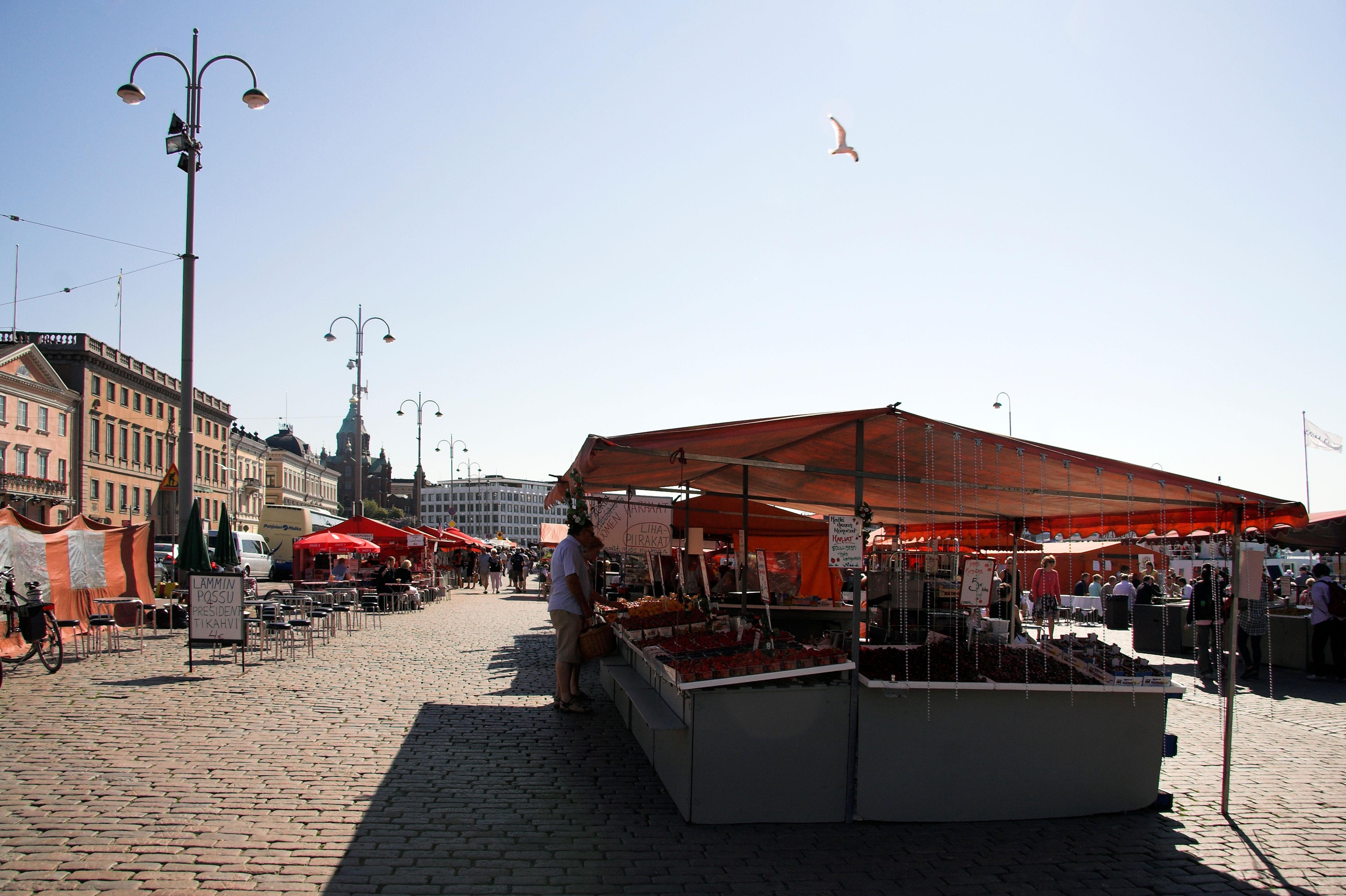 Food stalls, Market Square, Helsinki, Finland. Image shot 06/2011. Exact date unknown.