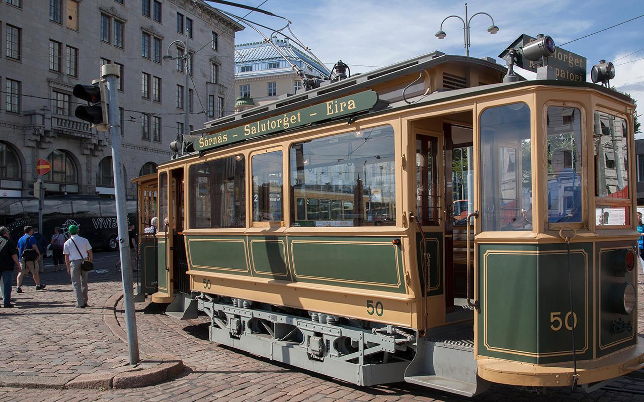 Tourist Tram in Market Square, Helsinki; Finland