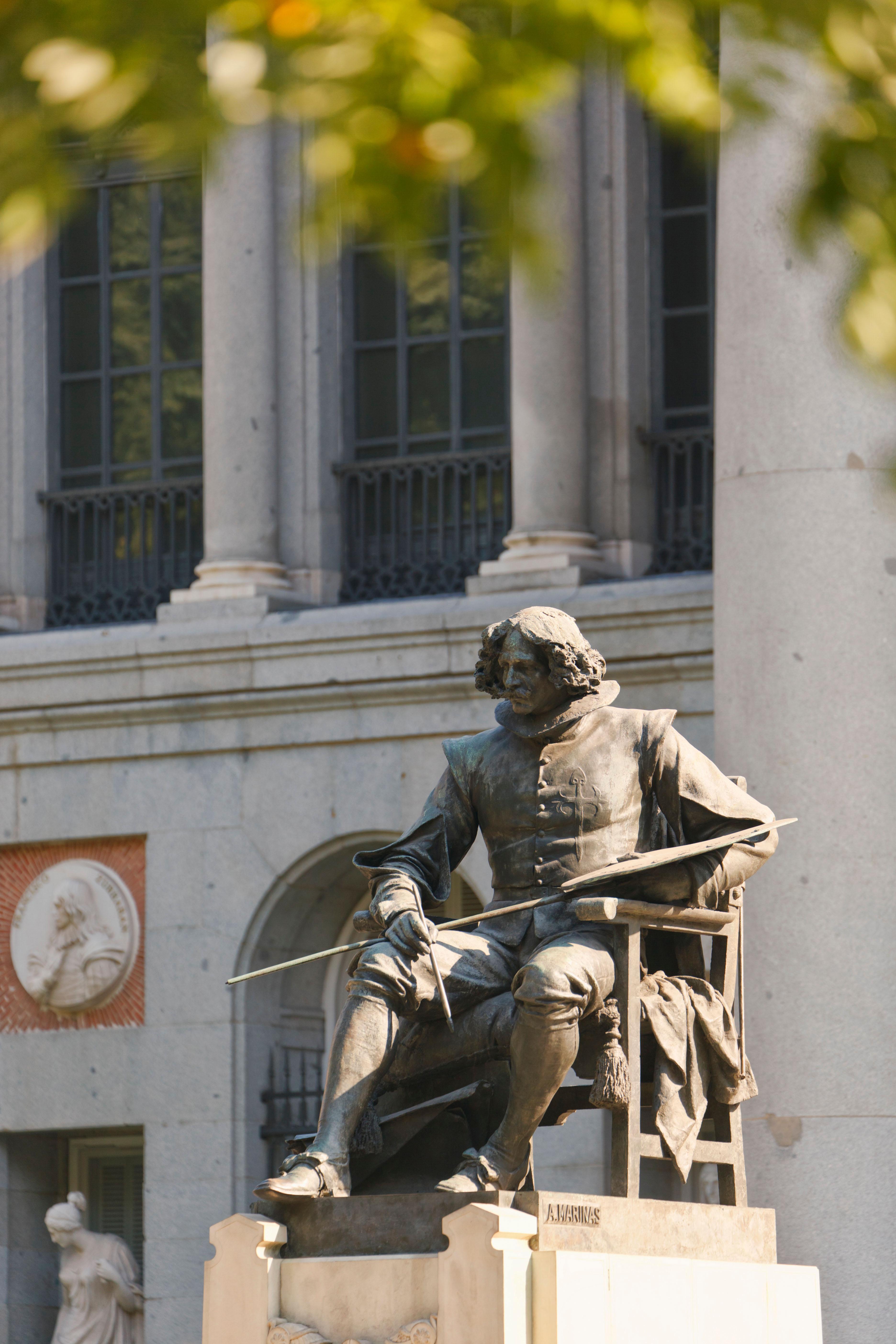 Madrid, Spain. Statue of Spanish artist Diego Velazquez outside the El Prado museum.