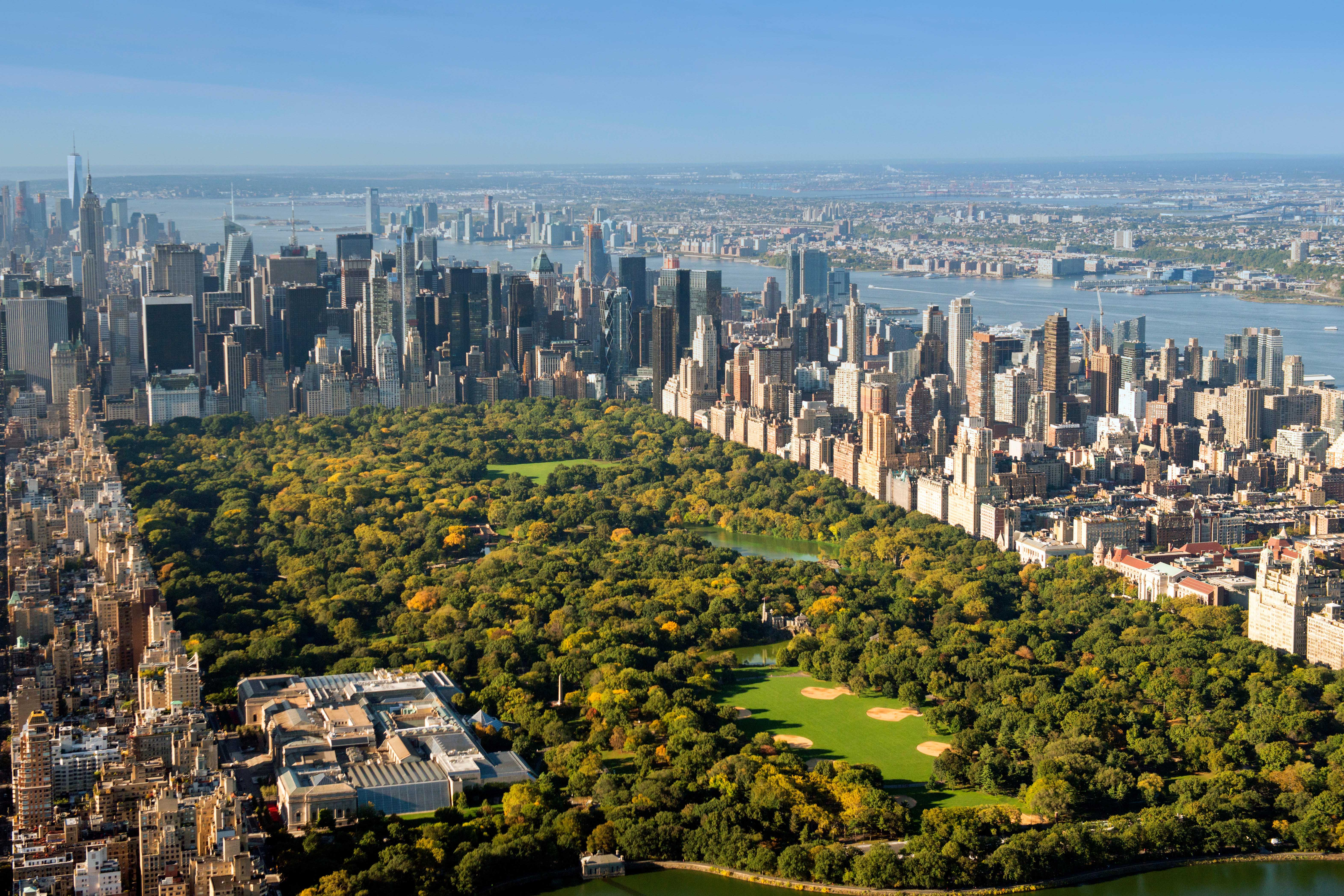 Aerial shot of Manhattan and Central Park from the Upper West Side East Harlem, New York USA