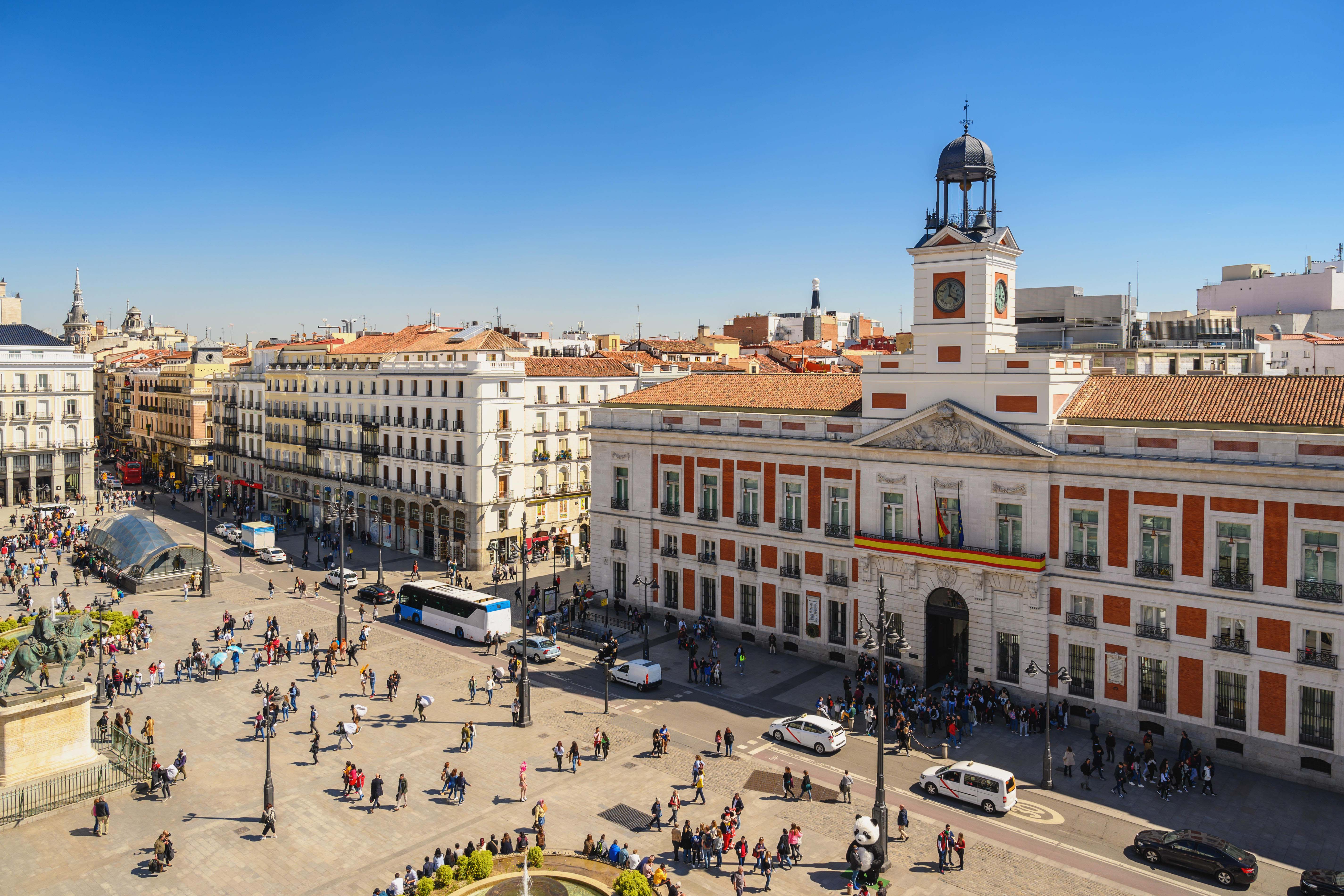 Madrid Spain, aerial view city skyline at Puerta del Sol