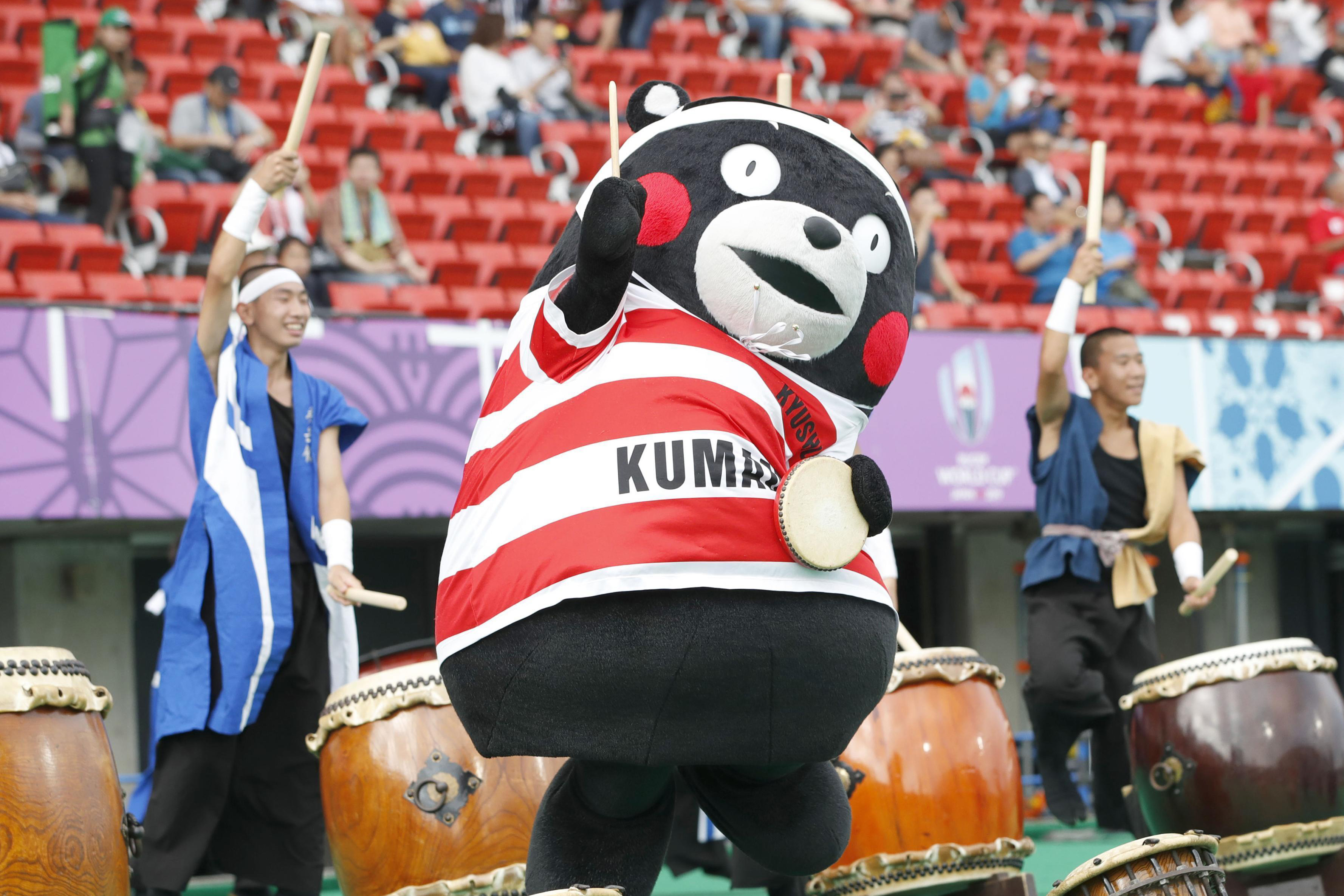 Kumamoto, Japan. 6th Oct, 2019. Kumamon, official mascot of the southwestern Japan prefecture of Kumamoto, performs ahead of a Rugby World Cup Pool C match between France and Tonga on Oct. 6, 2019, in the prefecture's Kumamoto city. (Kyodo)==Kyodo Photo v
