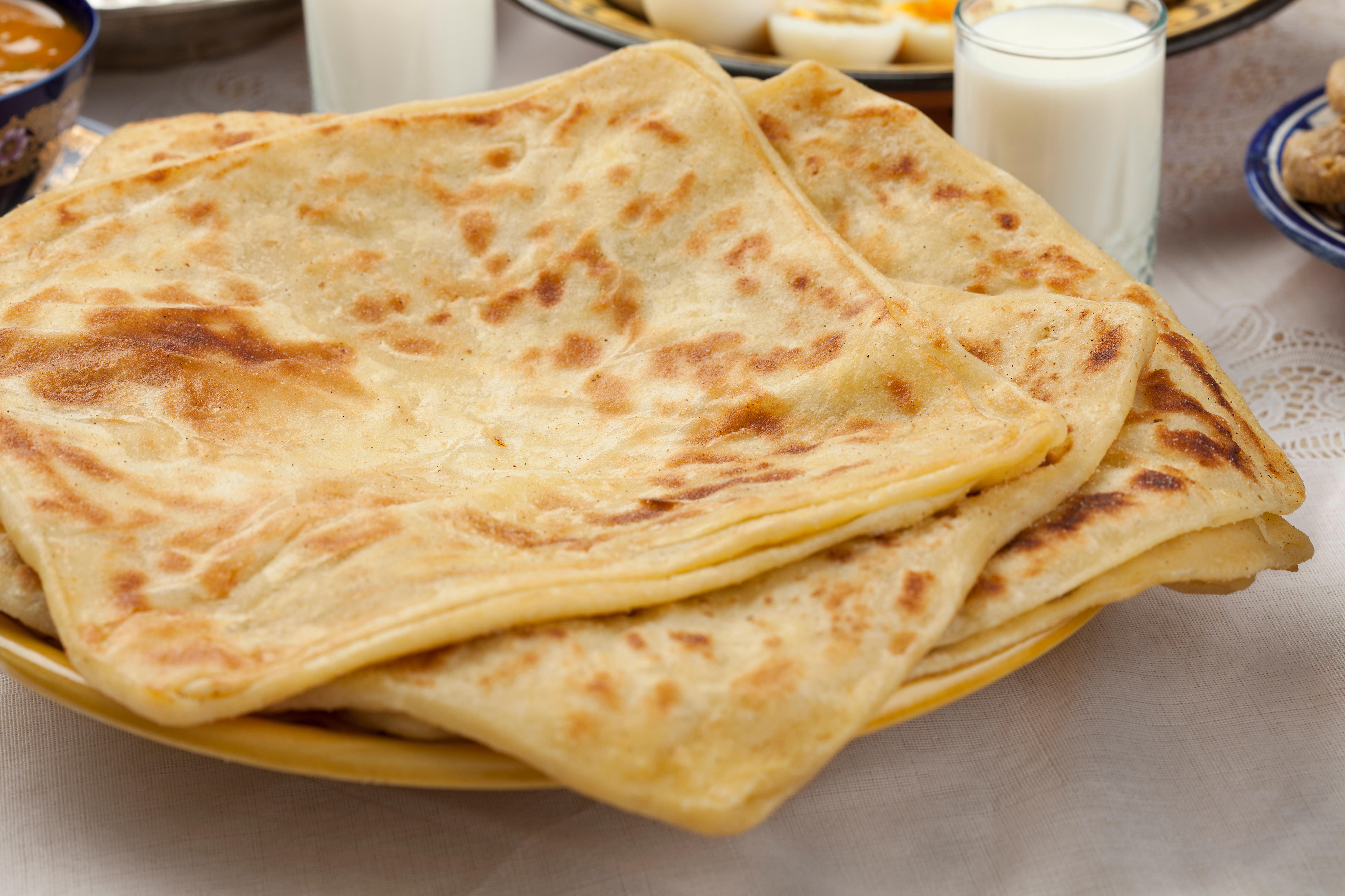 Traditional Moroccan msemen, square pancakes