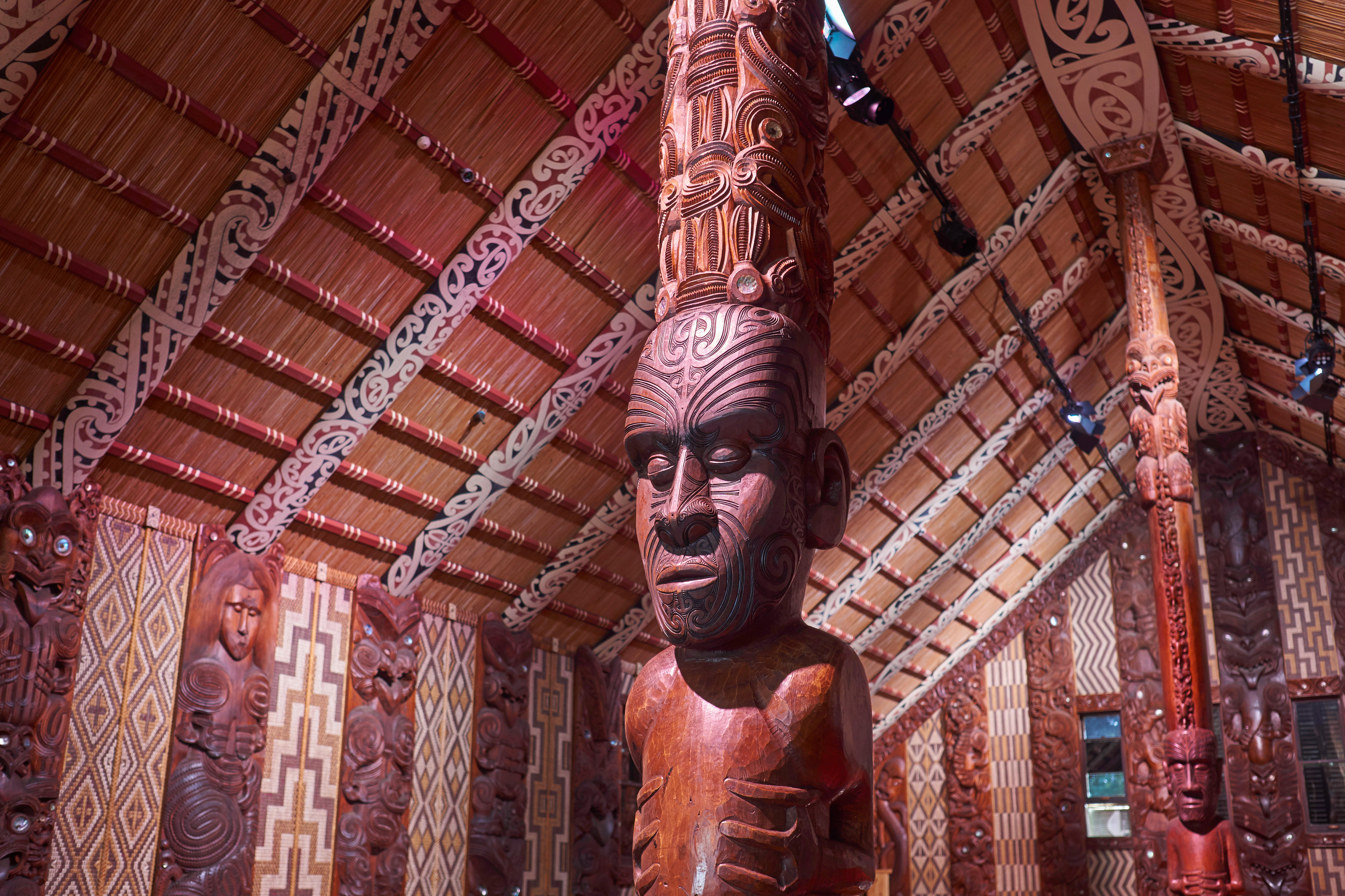 Maori meeting house with traditional carved interior, the national marae at the Waitangi Treaty Grounds in New Zealand