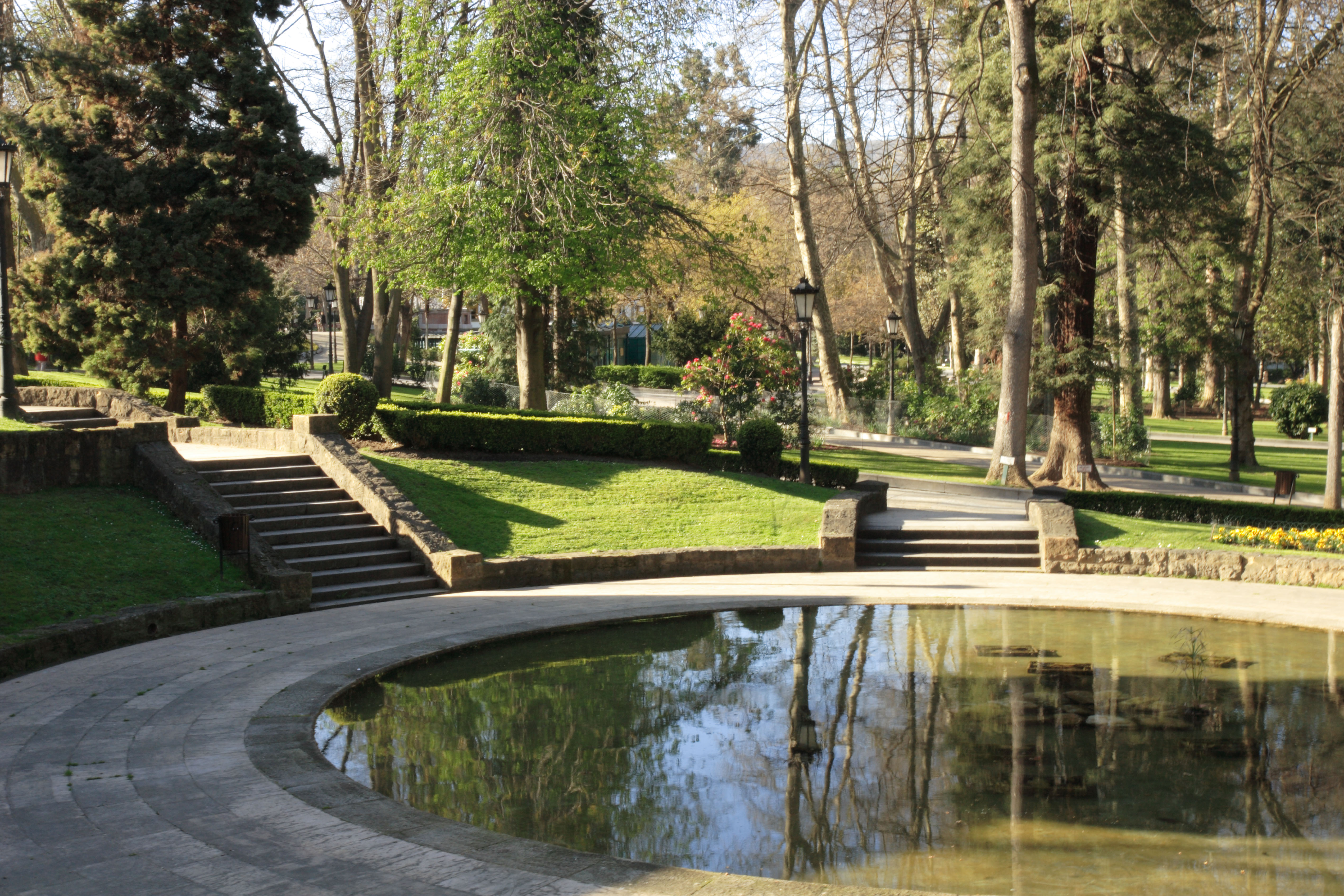 View over a round pond in the San Francisco Park in Oviedo Spain. Image shot 11/2008. Exact date unknown.