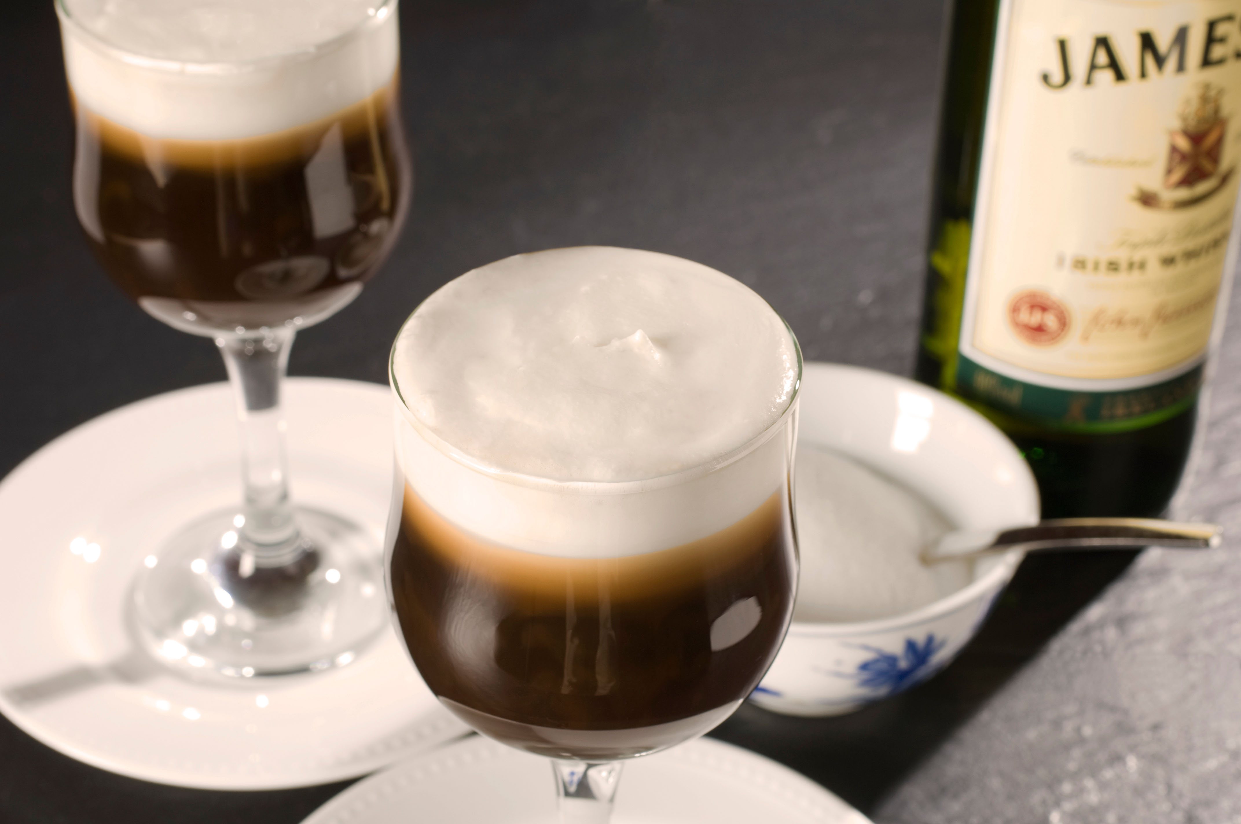 Irish coffee whiskey whisky cream glass drink Irish coffee made with coffee Irish whiskey sugar and whipped cream