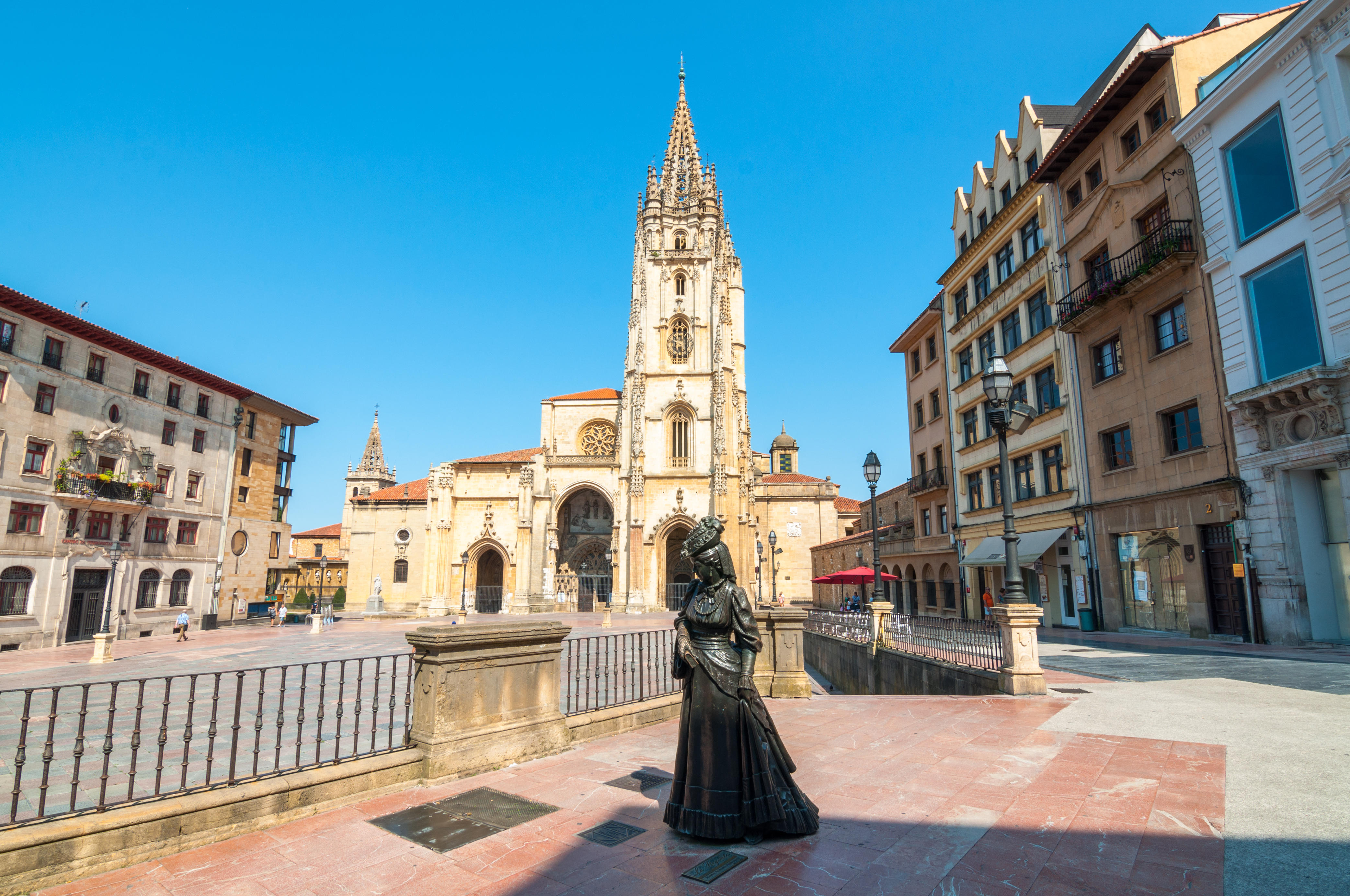 Oviedo, Spain - Monday, August 15, 2016: Holy Saviour Cathedral square