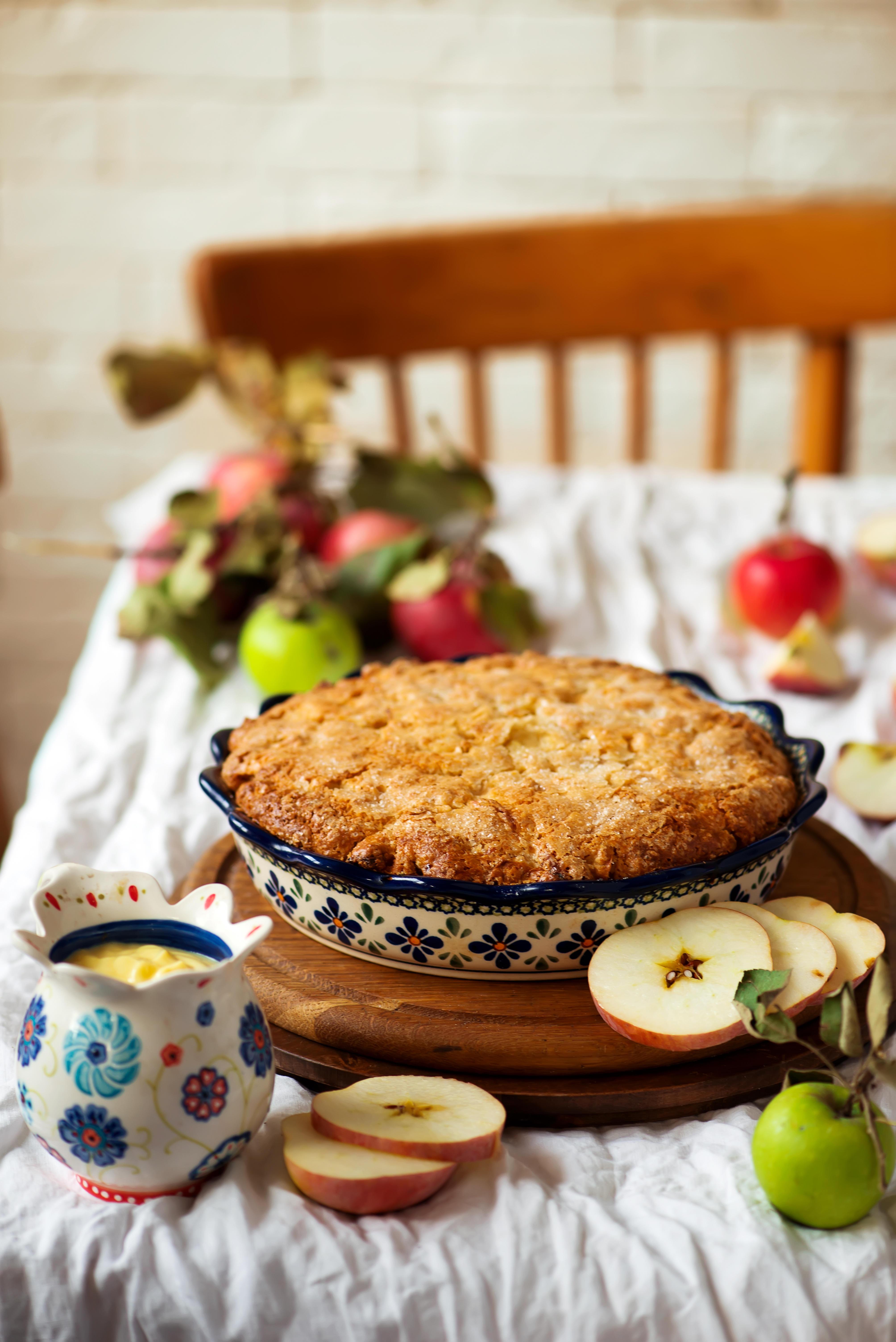 Irish apples cake with custard. rustic photo.selective focus