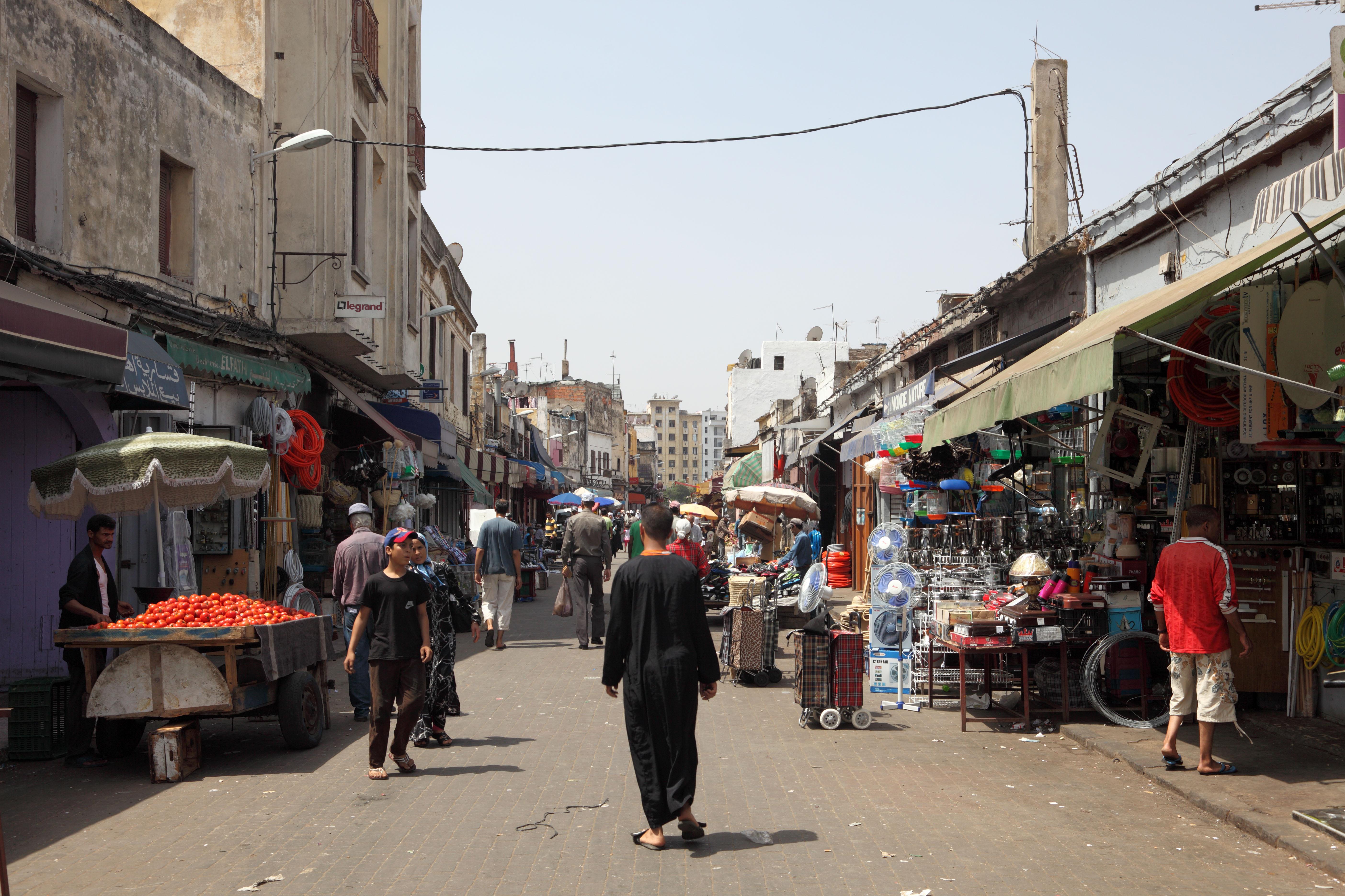 Street in the medina of Casablanca, Morocco