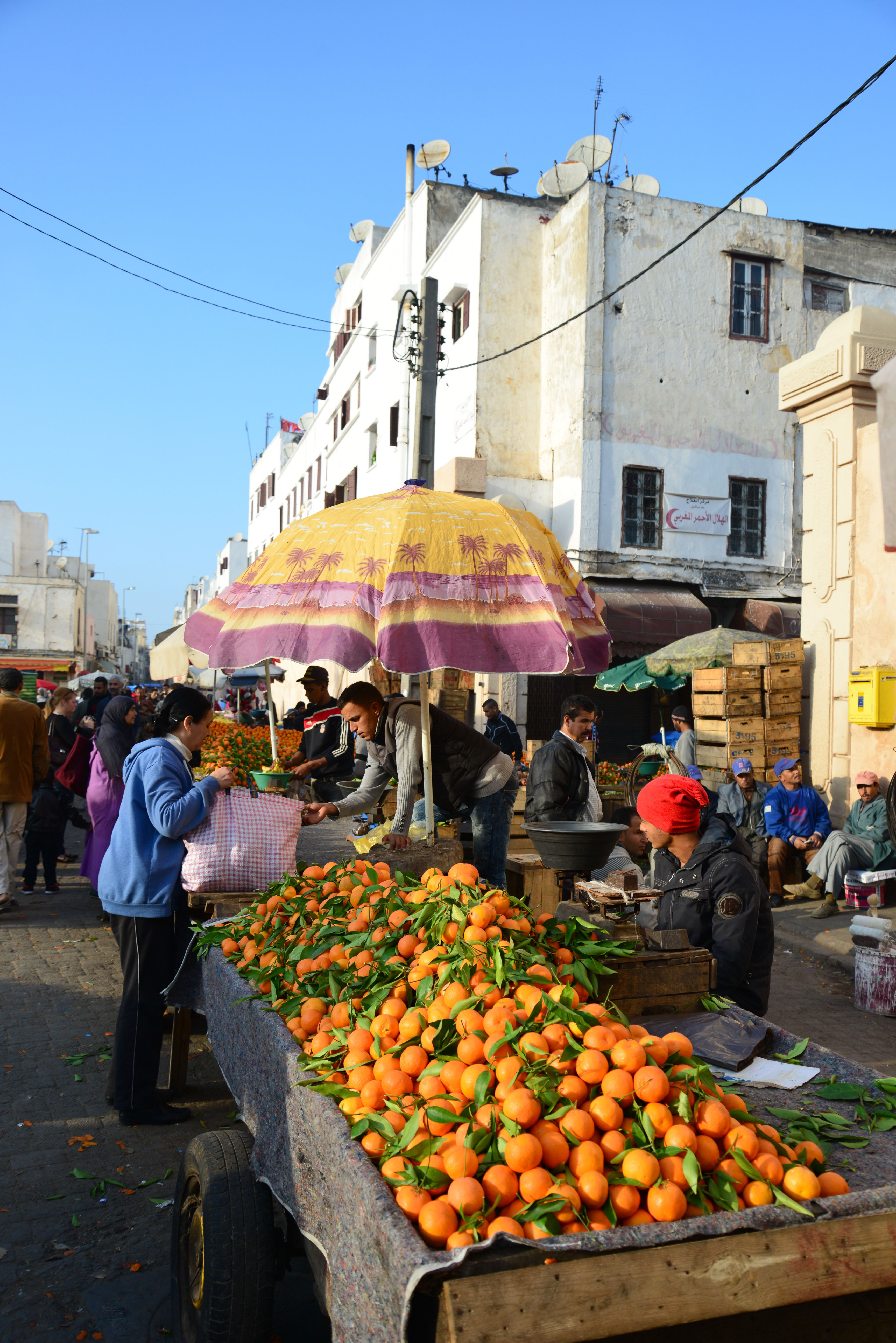 Fruit stalls in Old Medina, Casa-Anfa District, Casablanca, Grand Casablanca Region, Kingdom of Morocco. Image shot 2014. Exact date unknown.