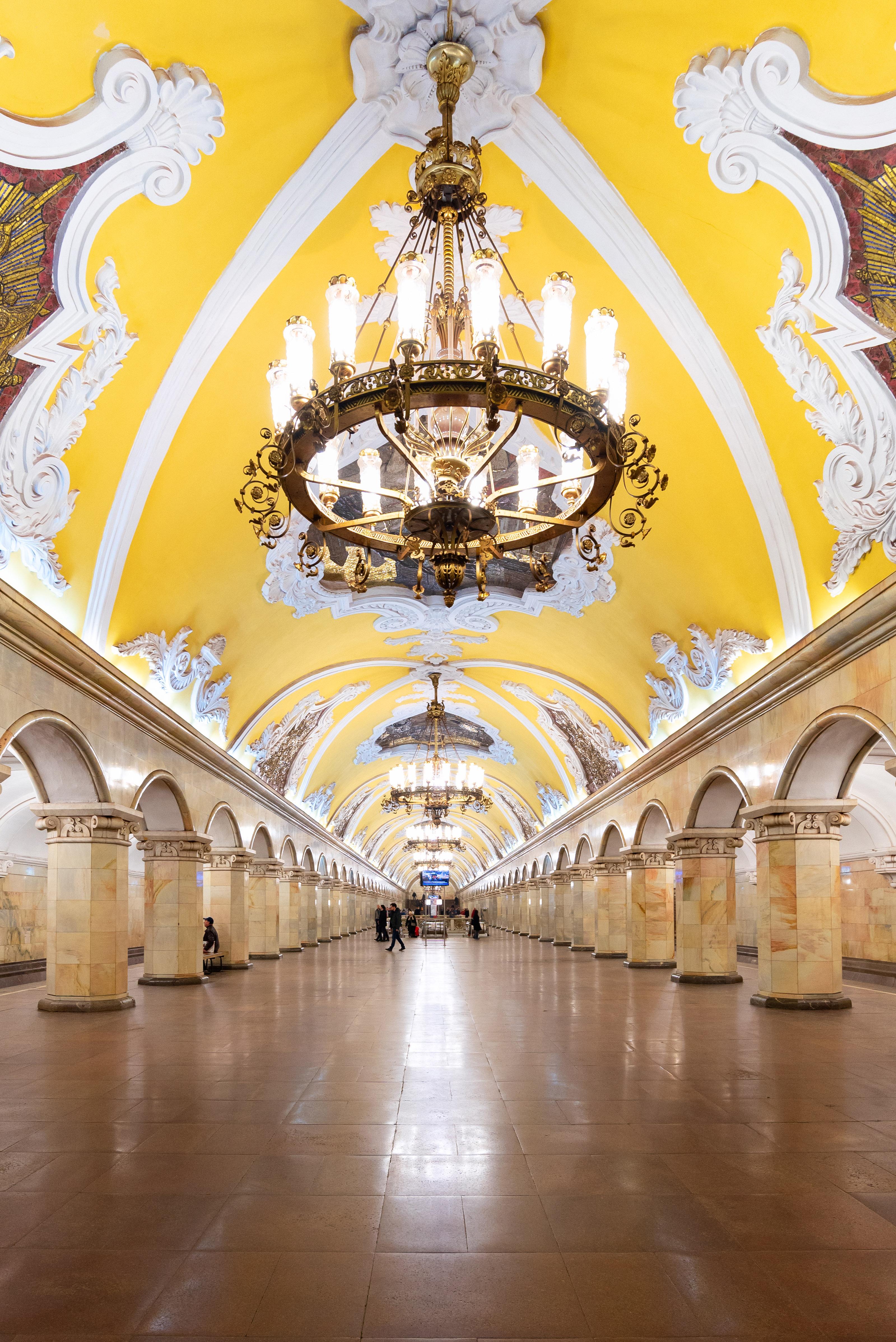 Interior design of the Komsomolskaya metro station in Moscow, Russia.
